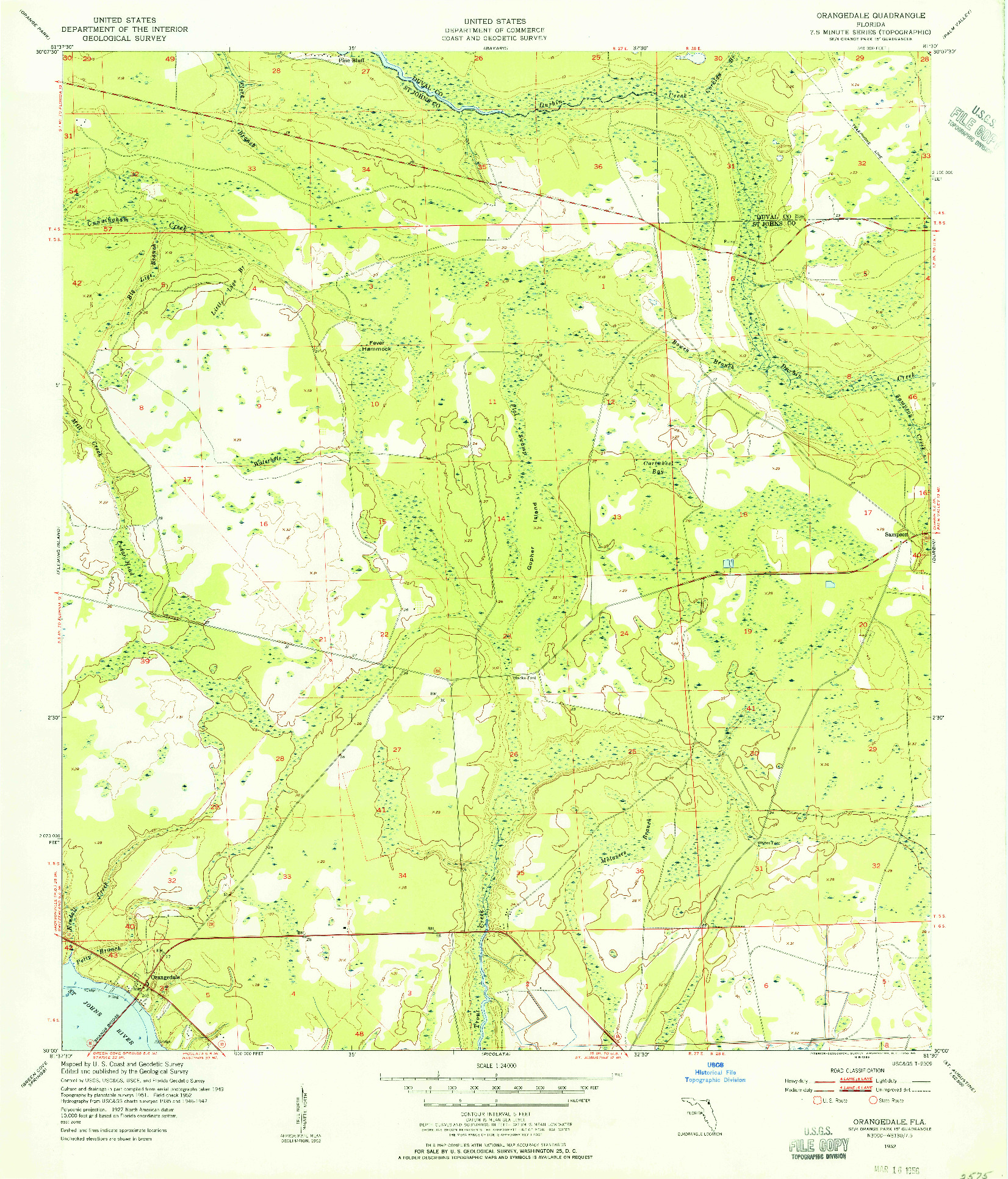 USGS 1:24000-SCALE QUADRANGLE FOR ORANGEDALE, FL 1952