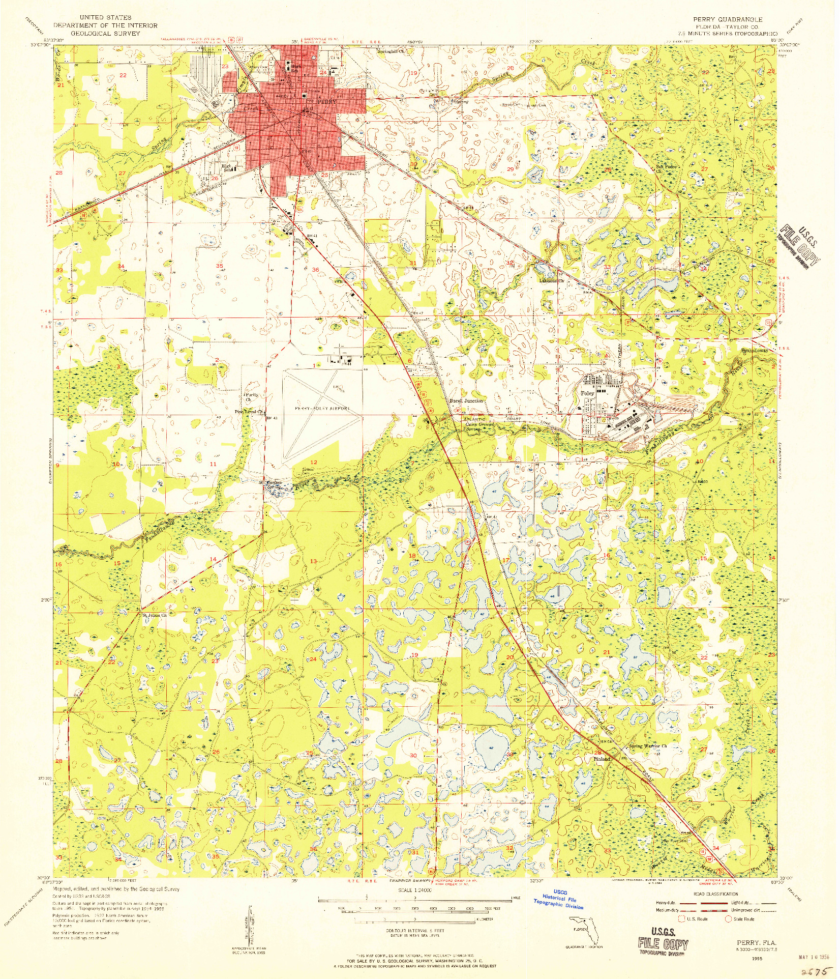 USGS 1:24000-SCALE QUADRANGLE FOR PERRY, FL 1955