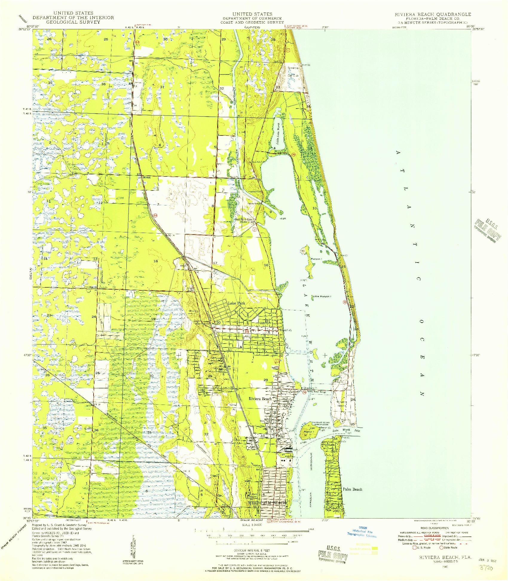 USGS 1:24000-SCALE QUADRANGLE FOR RIVIERA BEACH, FL 1946