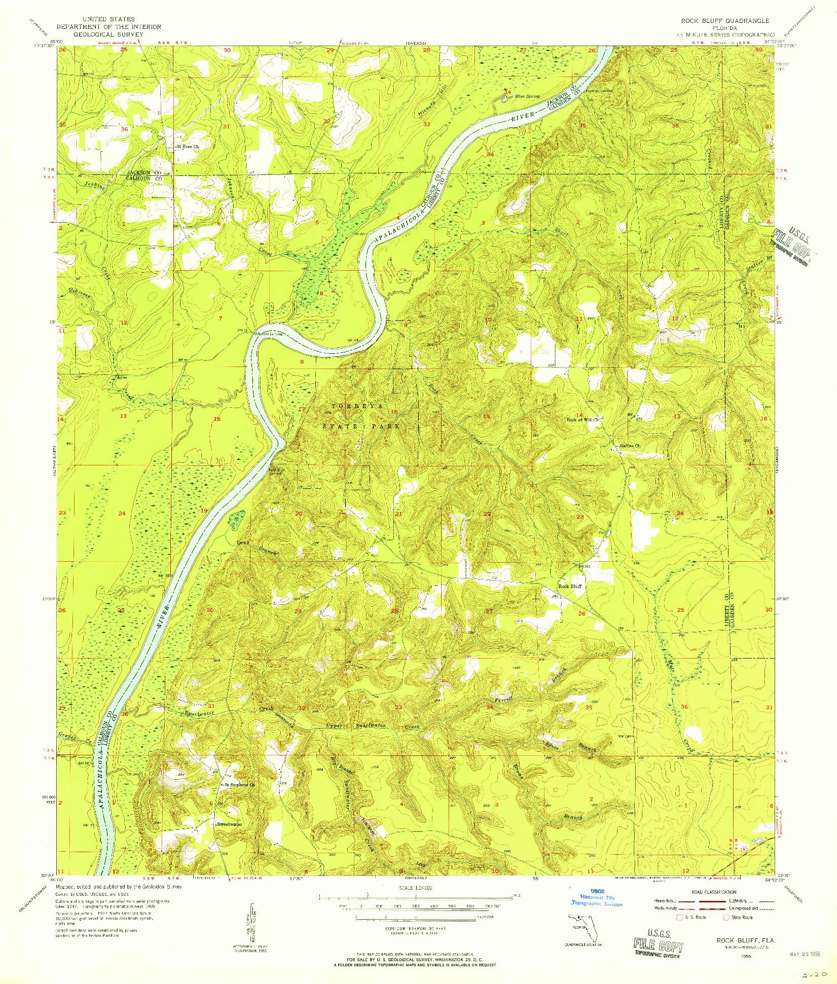 USGS 1:24000-SCALE QUADRANGLE FOR ROCK BLUFF, FL 1955