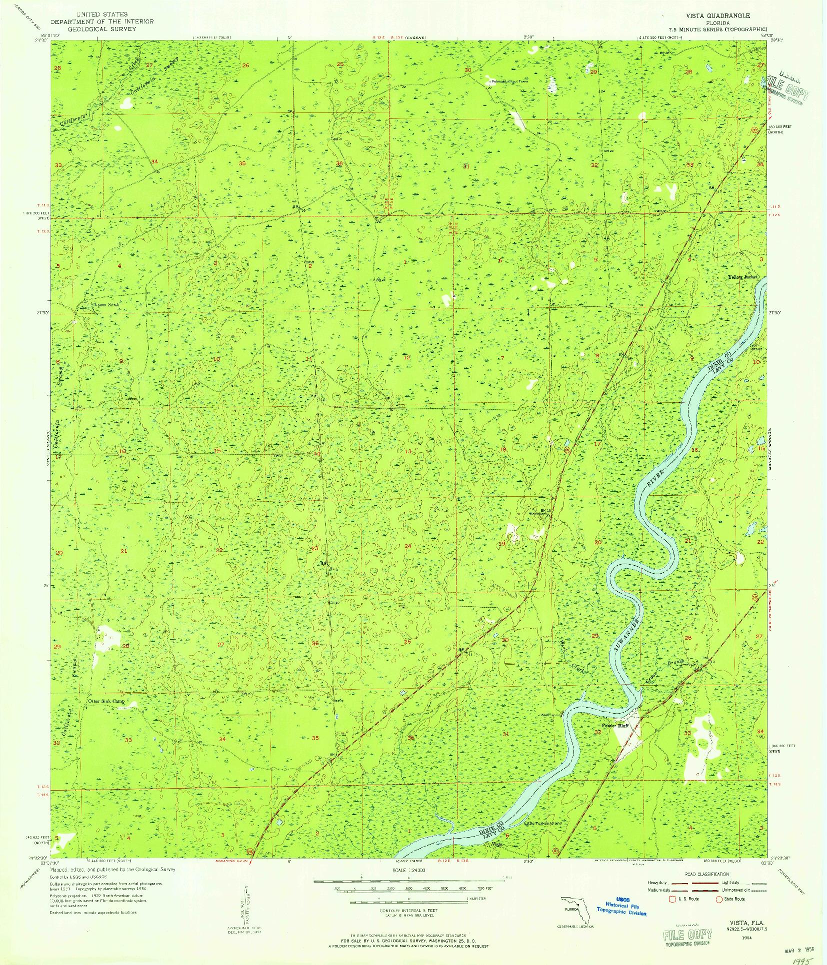 USGS 1:24000-SCALE QUADRANGLE FOR VISTA, FL 1954