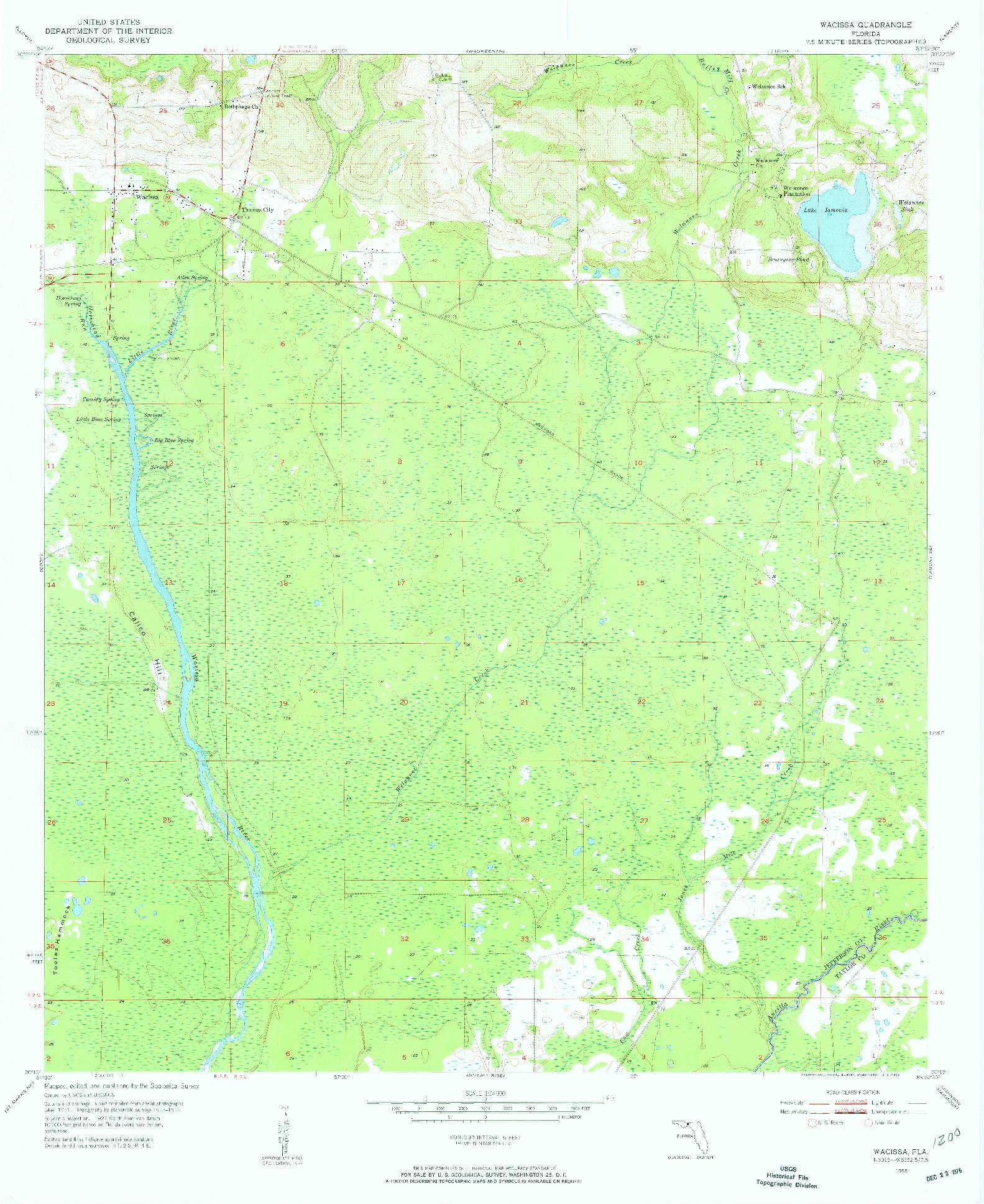 USGS 1:24000-SCALE QUADRANGLE FOR WACISSA, FL 1955