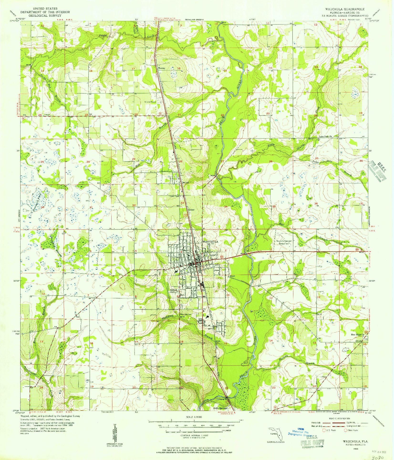 USGS 1:24000-SCALE QUADRANGLE FOR WAUCHULA, FL 1955