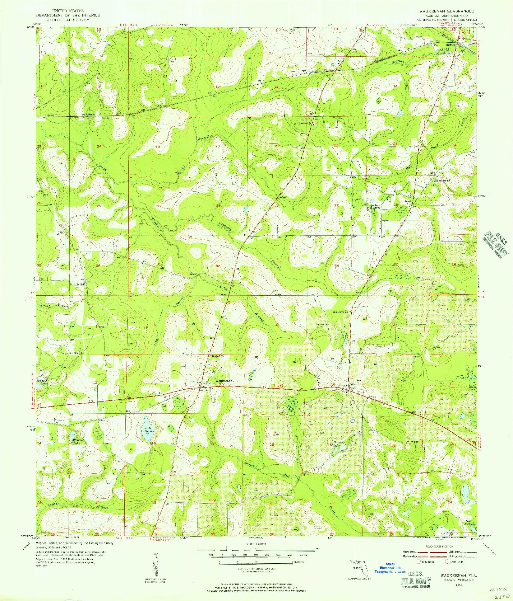 USGS 1:24000-SCALE QUADRANGLE FOR WAUKEENAH, FL 1955