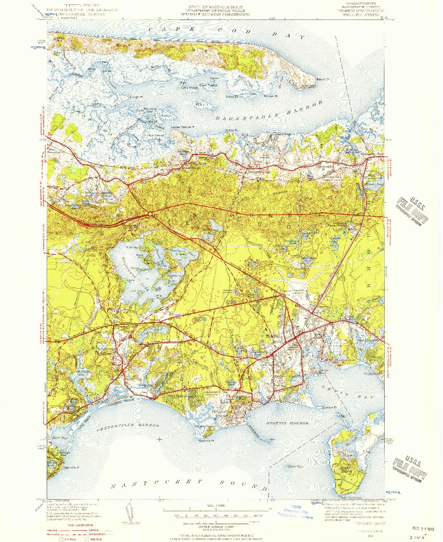 USGS 1:31680-SCALE QUADRANGLE FOR HYANNIS, MA 1950