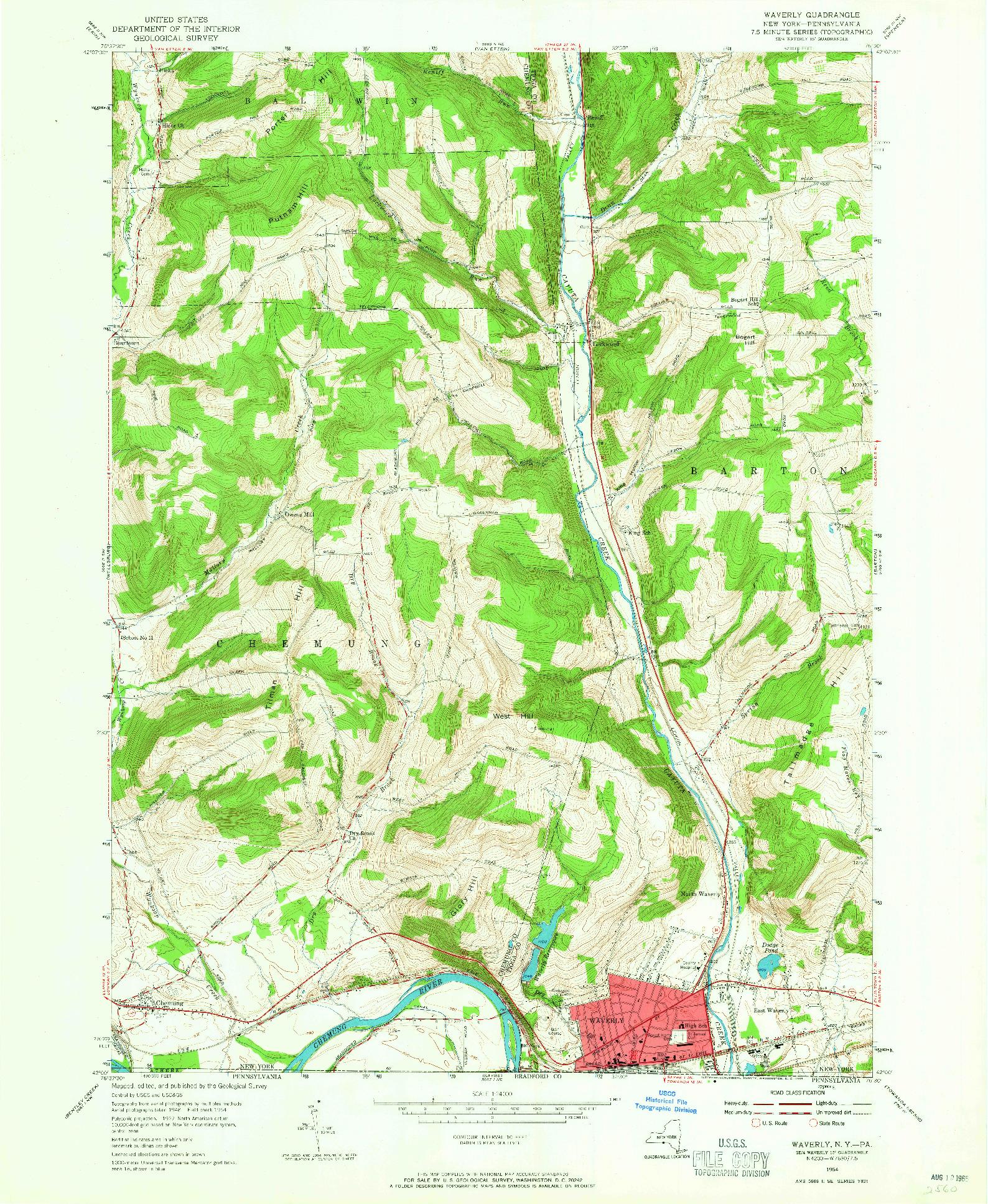 USGS 1:24000-SCALE QUADRANGLE FOR WAVERLY, NY 1954
