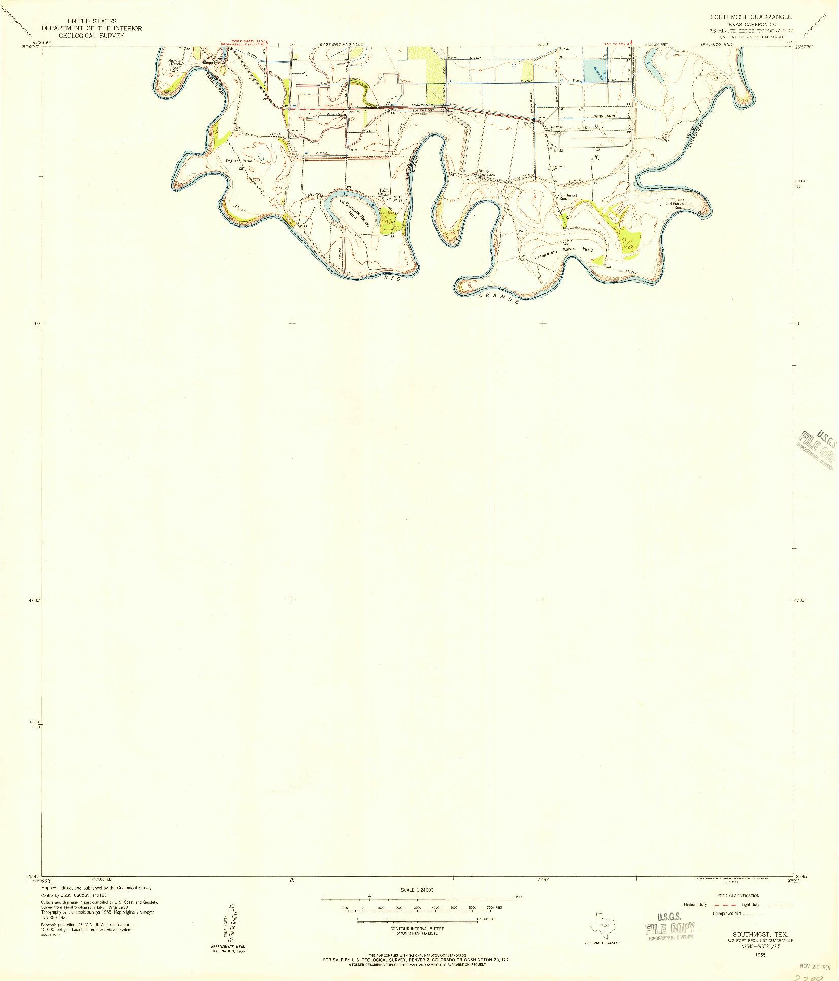 USGS 1:24000-SCALE QUADRANGLE FOR SOUTHMOST, TX 1955
