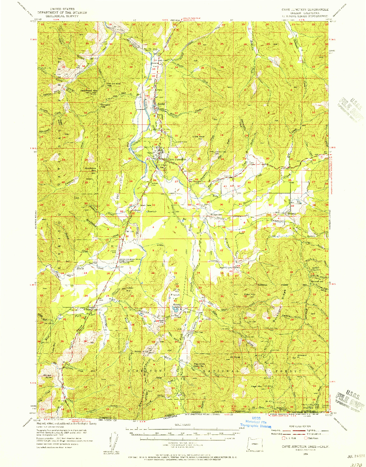 USGS 1:62500-SCALE QUADRANGLE FOR CAVE JUNCTION, OR 1954