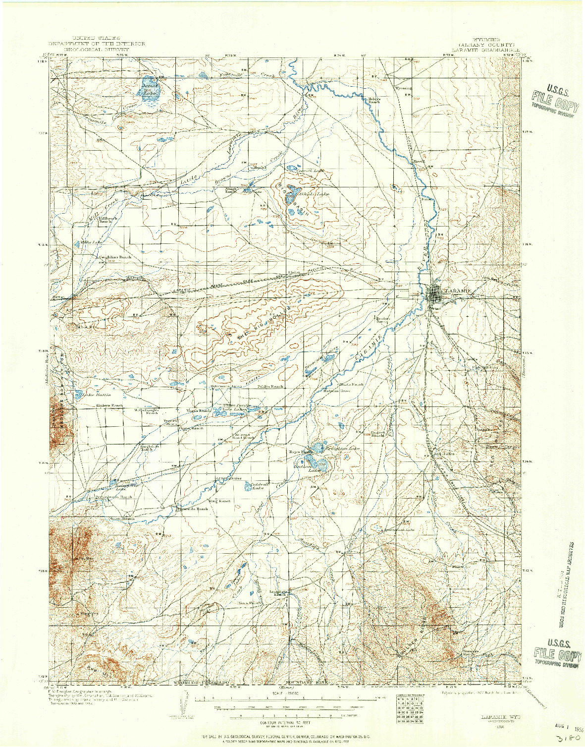 USGS 1:125000-SCALE QUADRANGLE FOR LARAMIE, WY 1906