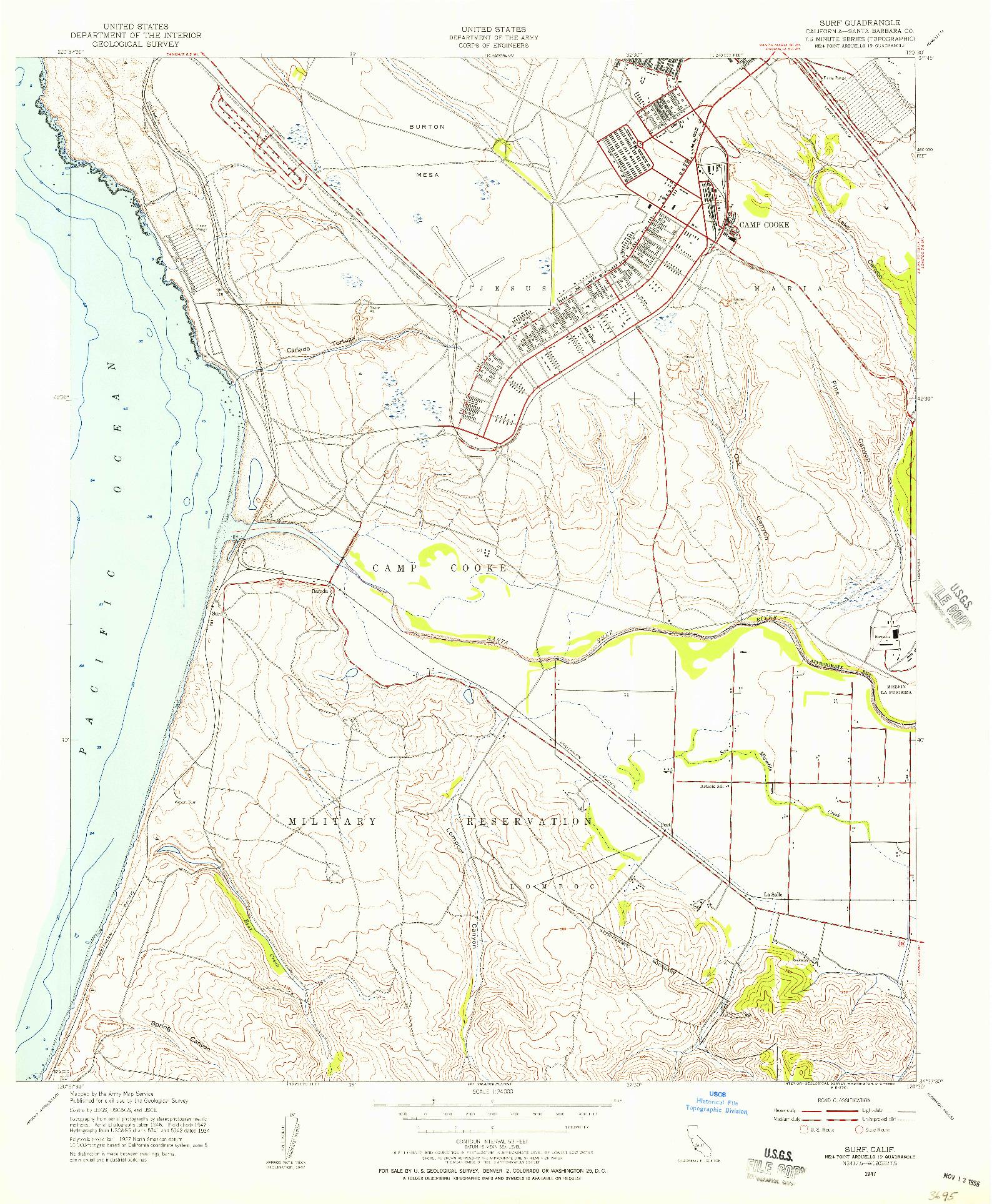 USGS 1:24000-SCALE QUADRANGLE FOR SURF, CA 1947