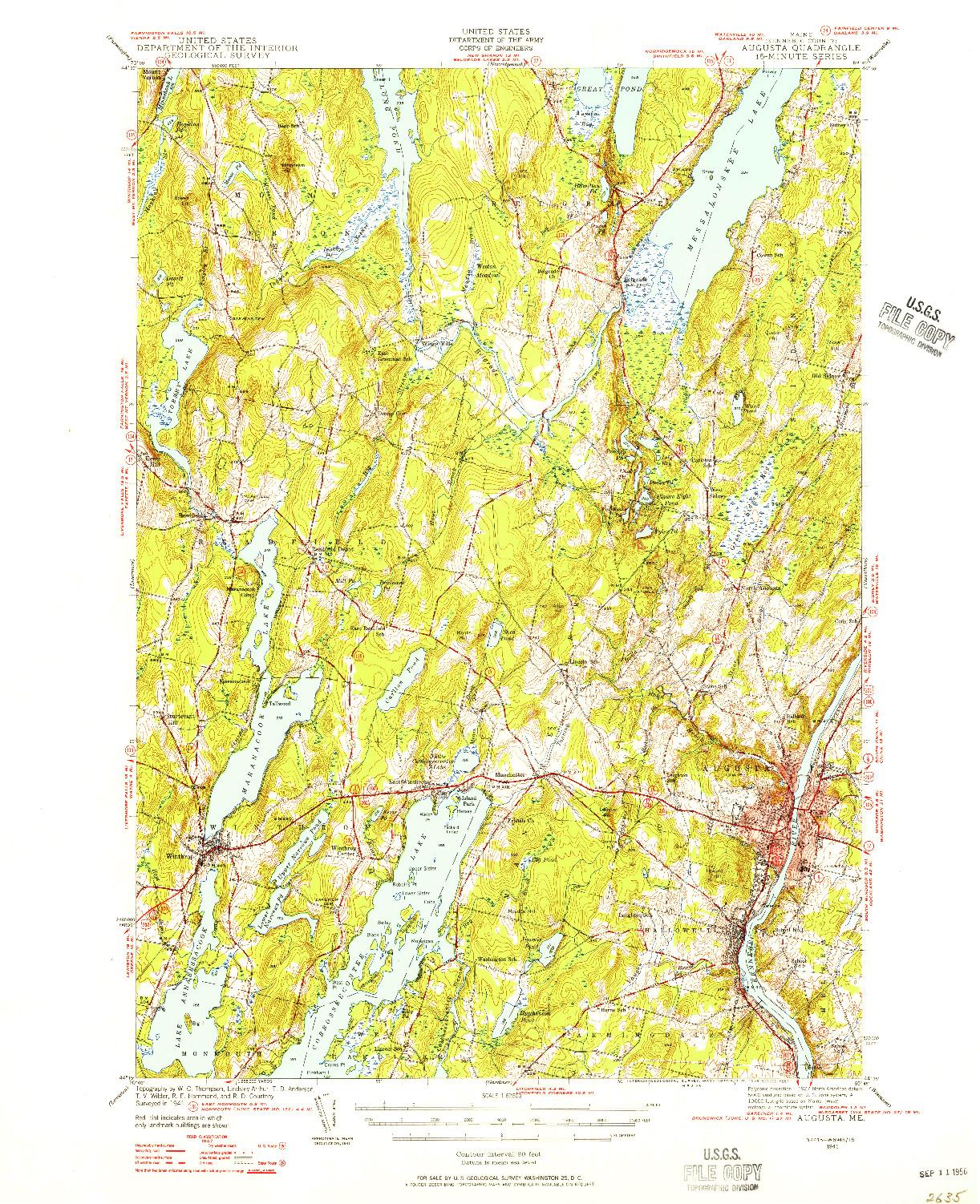 USGS 1:62500-SCALE QUADRANGLE FOR AUGUSTA, ME 1941