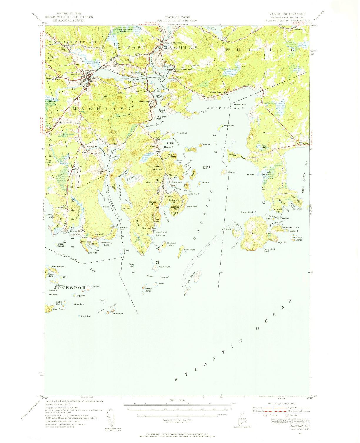 USGS 1:62500-SCALE QUADRANGLE FOR MACHIAS, ME 1941