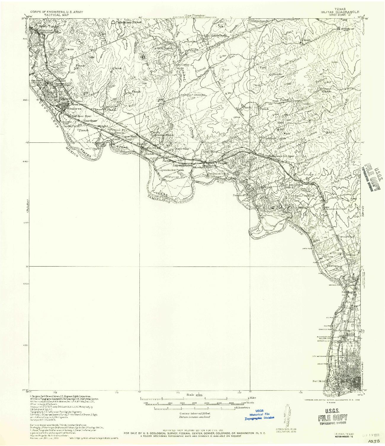 USGS 1:62500-SCALE QUADRANGLE FOR ISLITAS, TX 1956