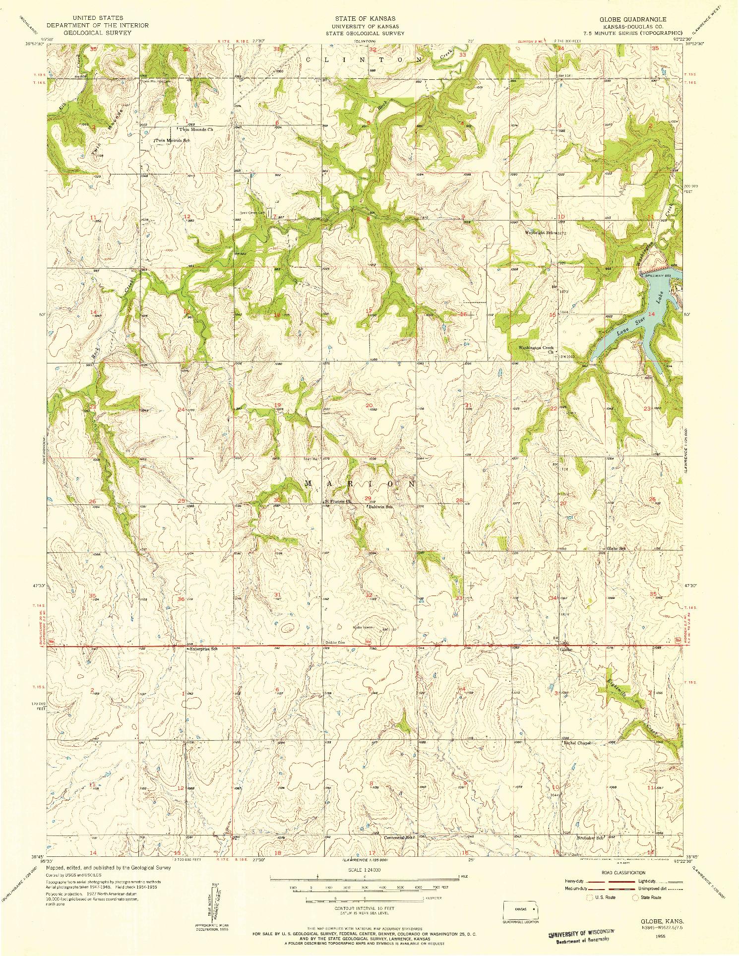 USGS 1:24000-SCALE QUADRANGLE FOR GLOBE, KS 1955
