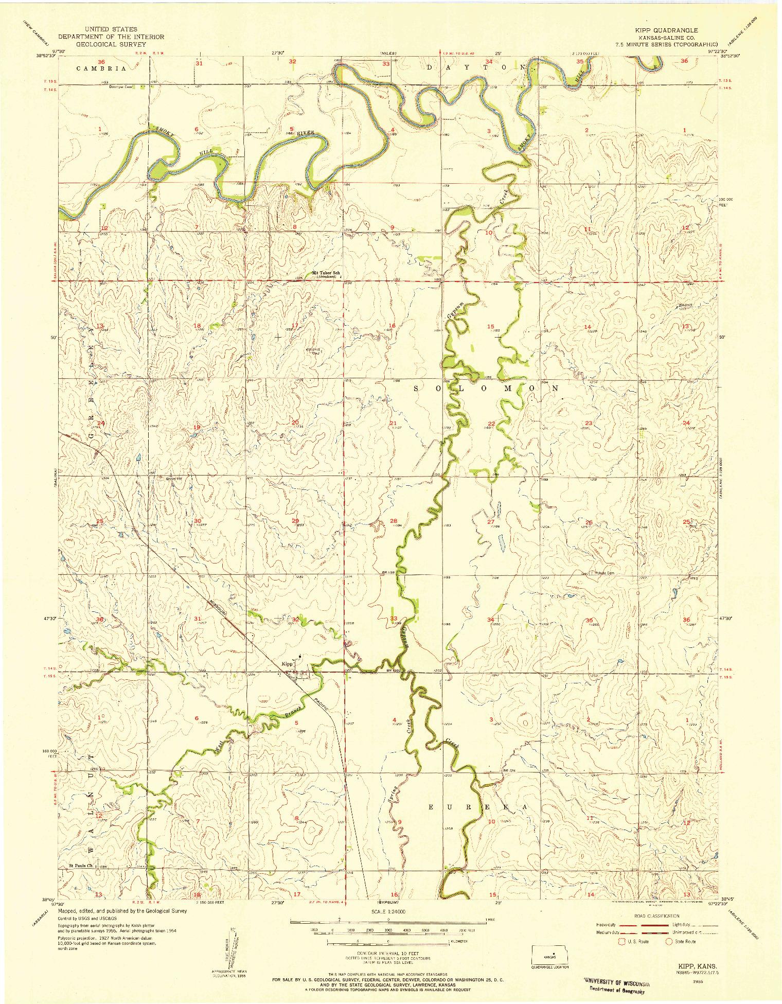 USGS 1:24000-SCALE QUADRANGLE FOR KIPP, KS 1955