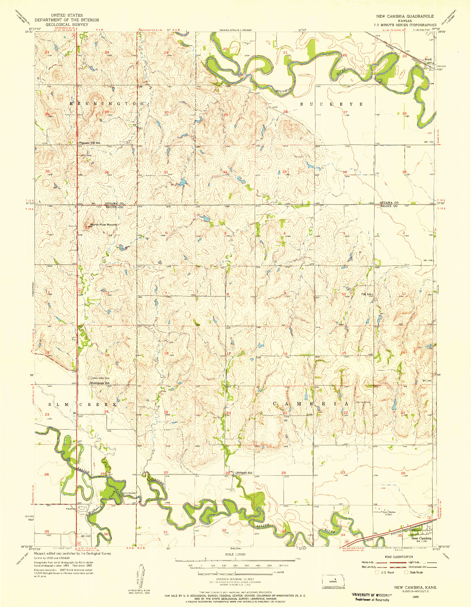 USGS 1:24000-SCALE QUADRANGLE FOR NEW CAMBRIA, KS 1955