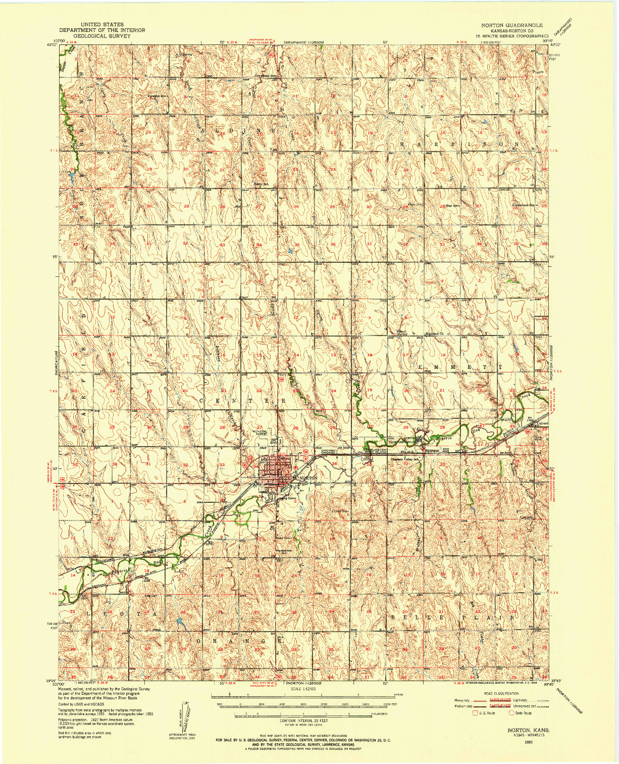 USGS 1:62500-SCALE QUADRANGLE FOR NORTON, KS 1951