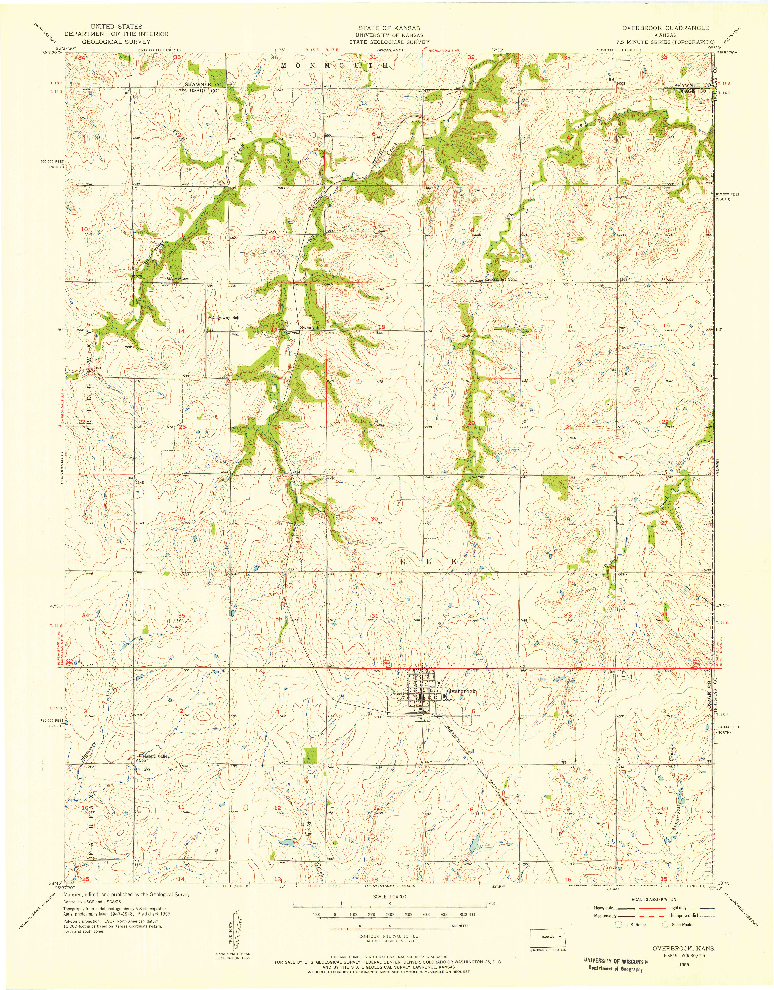USGS 1:24000-SCALE QUADRANGLE FOR OVERBROOK, KS 1955