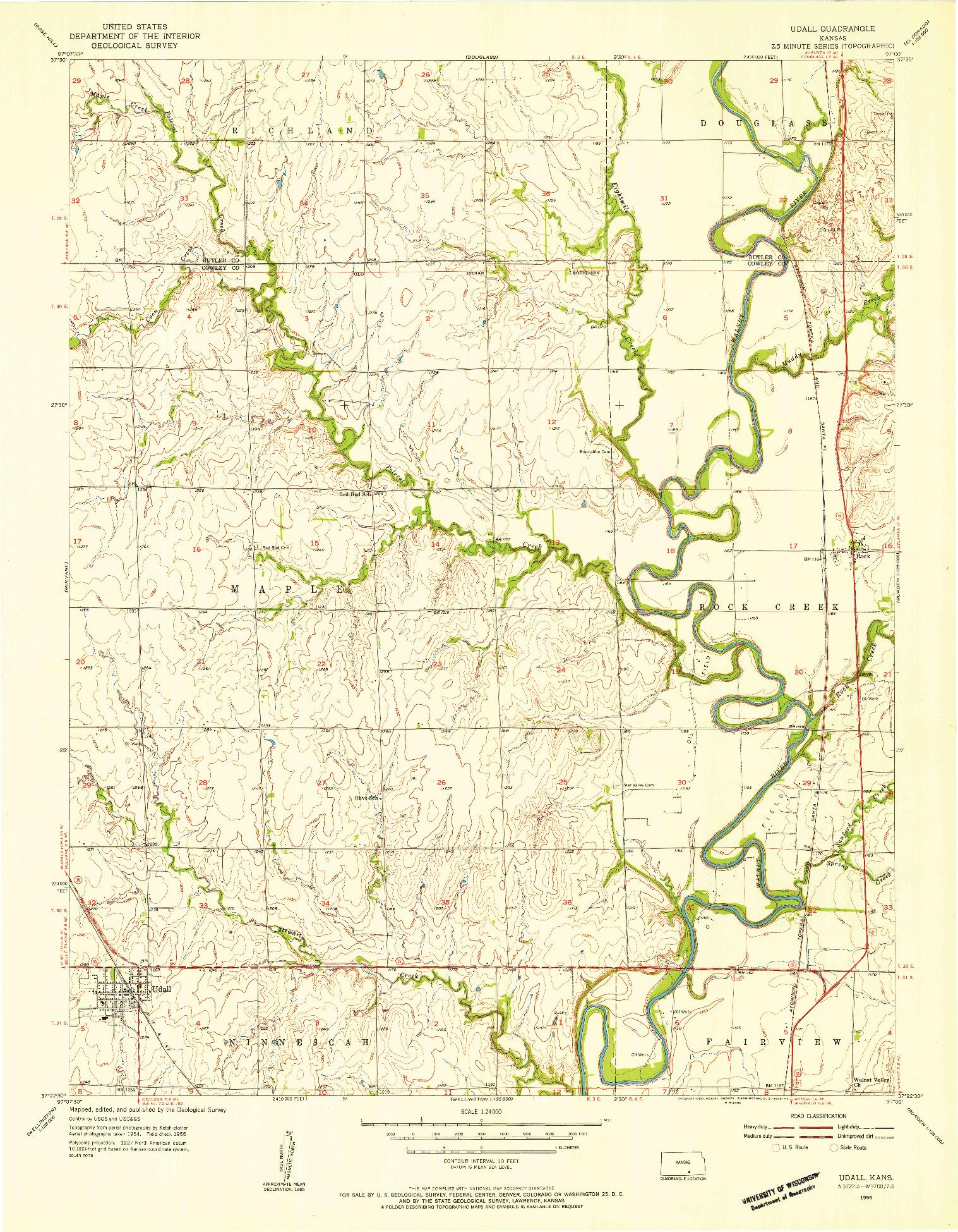 USGS 1:24000-SCALE QUADRANGLE FOR UDALL, KS 1955