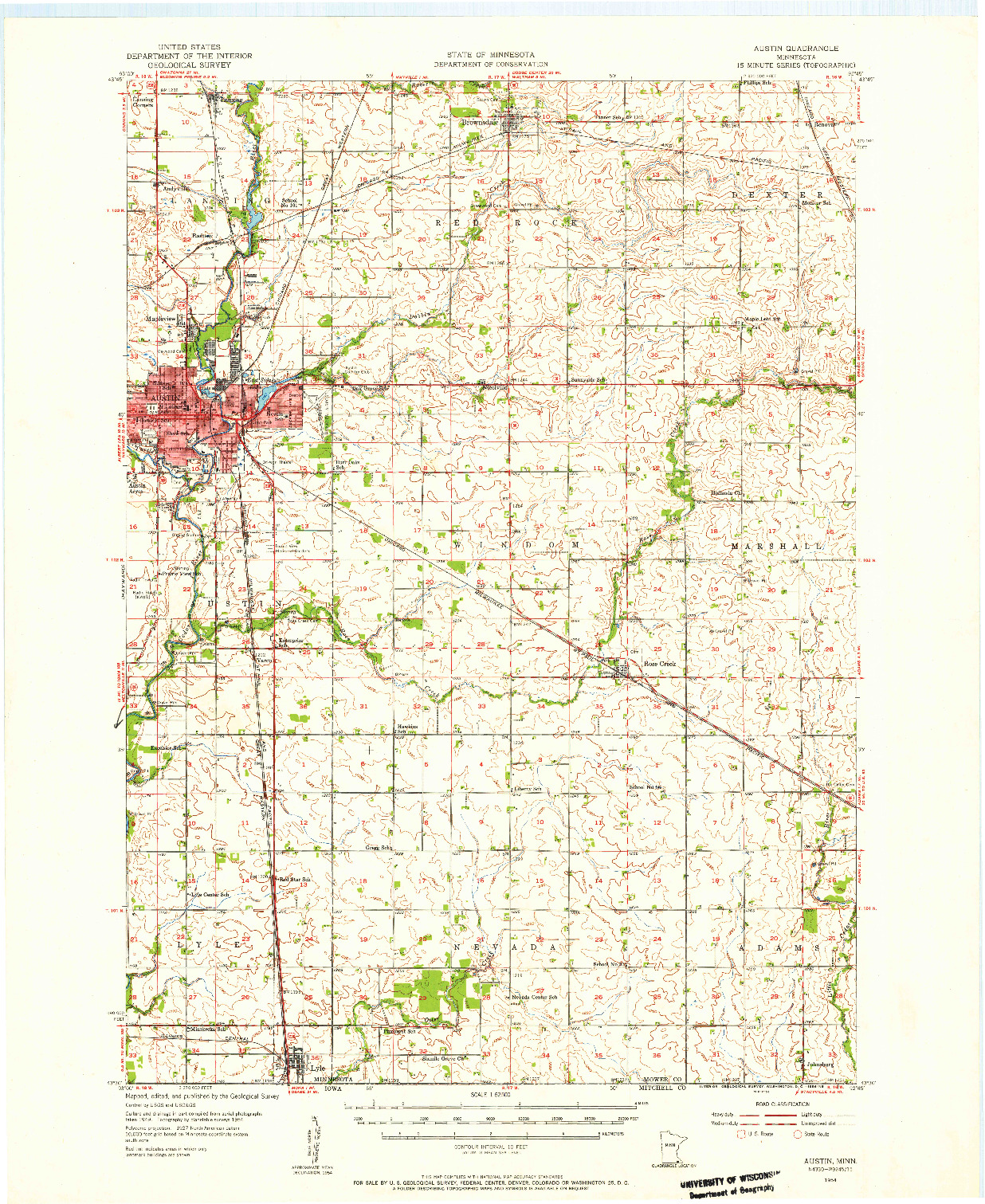 USGS 1:62500-SCALE QUADRANGLE FOR AUSTIN, MN 1954