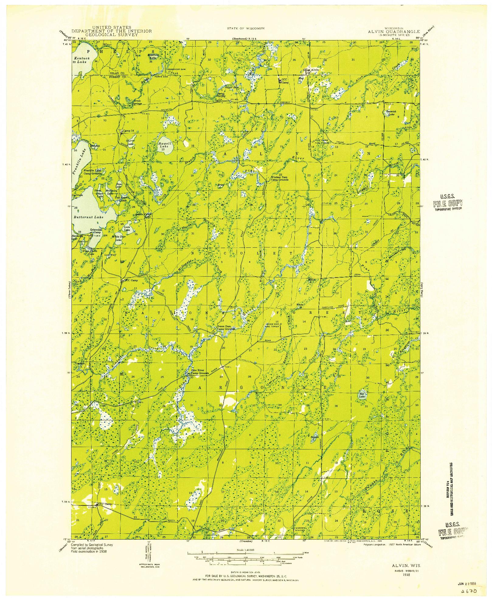 USGS 1:48000-SCALE QUADRANGLE FOR ALVIN, WI 1938