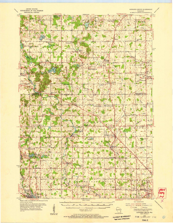 USGS 1:62500-SCALE QUADRANGLE FOR HOWARDS GROVE, WI 1954