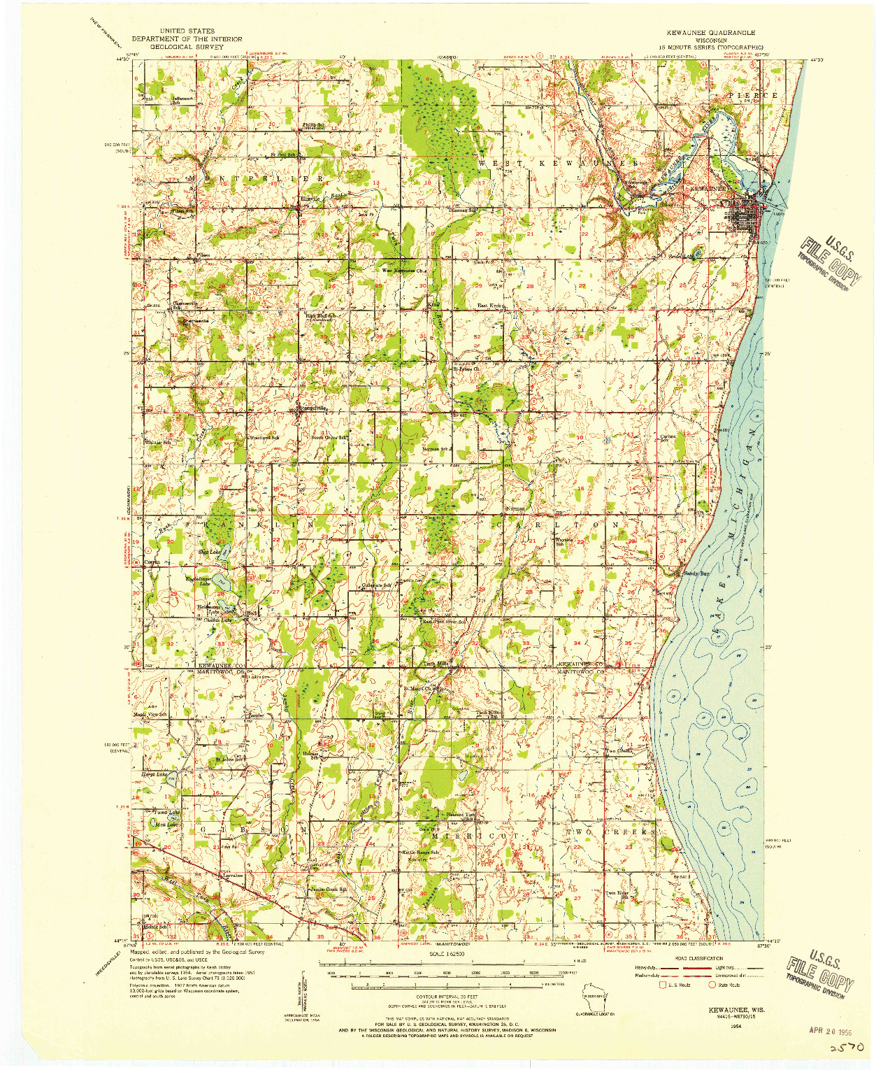 USGS 1:62500-SCALE QUADRANGLE FOR KEWAUNEE, WI 1954