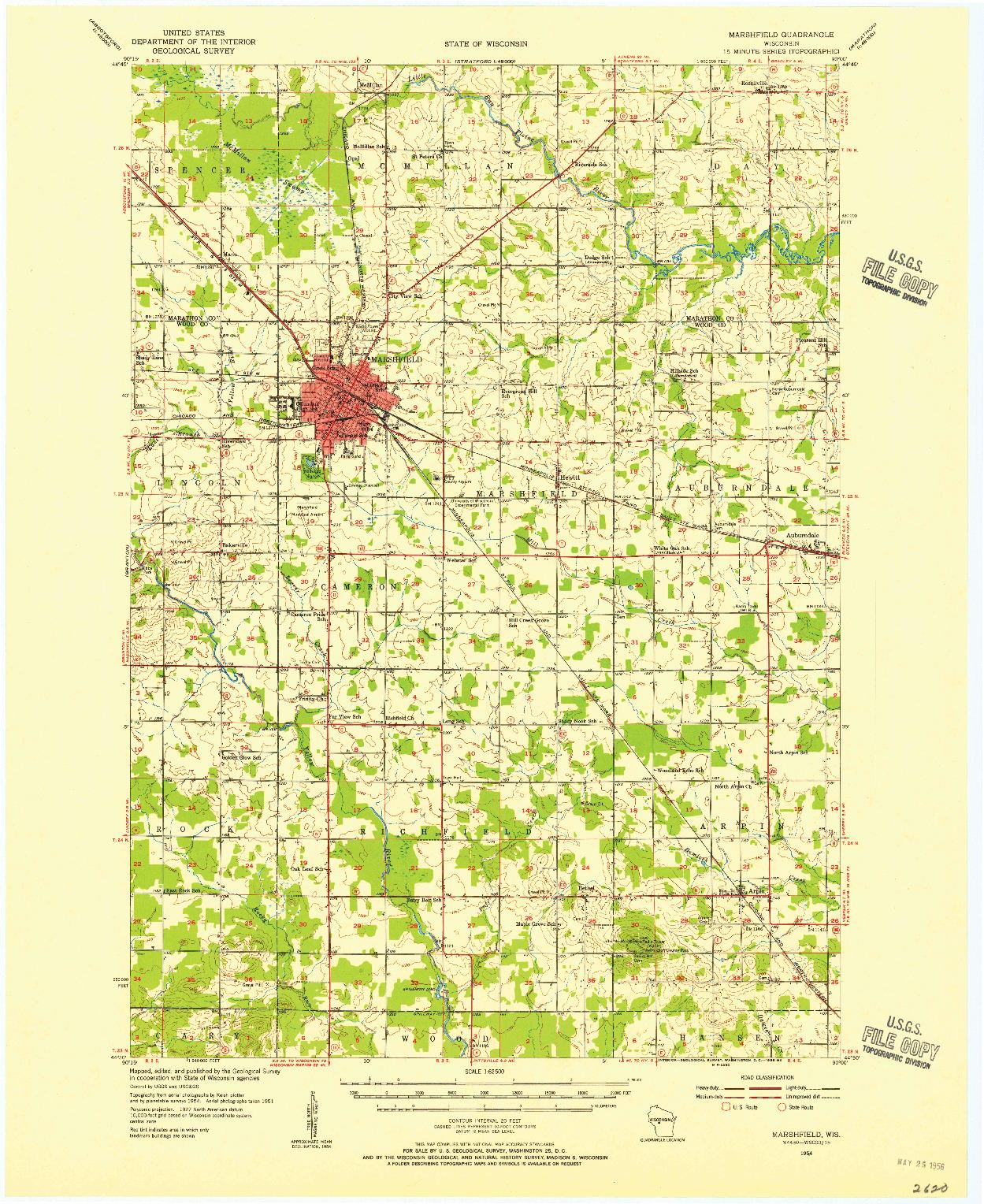 USGS 1:62500-SCALE QUADRANGLE FOR MARSHFIELD, WI 1954