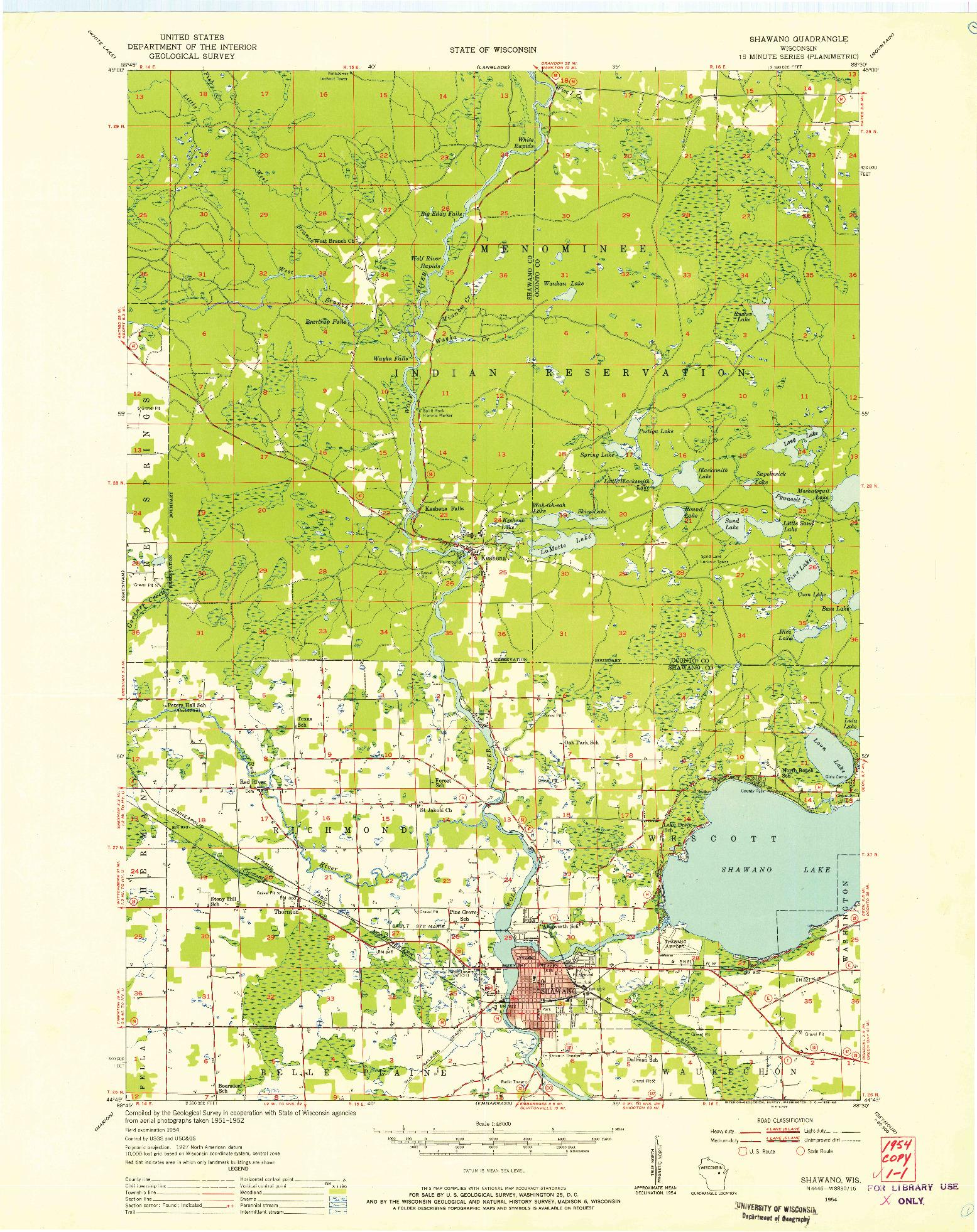 USGS 1:48000-SCALE QUADRANGLE FOR SHAWANO, WI 1954