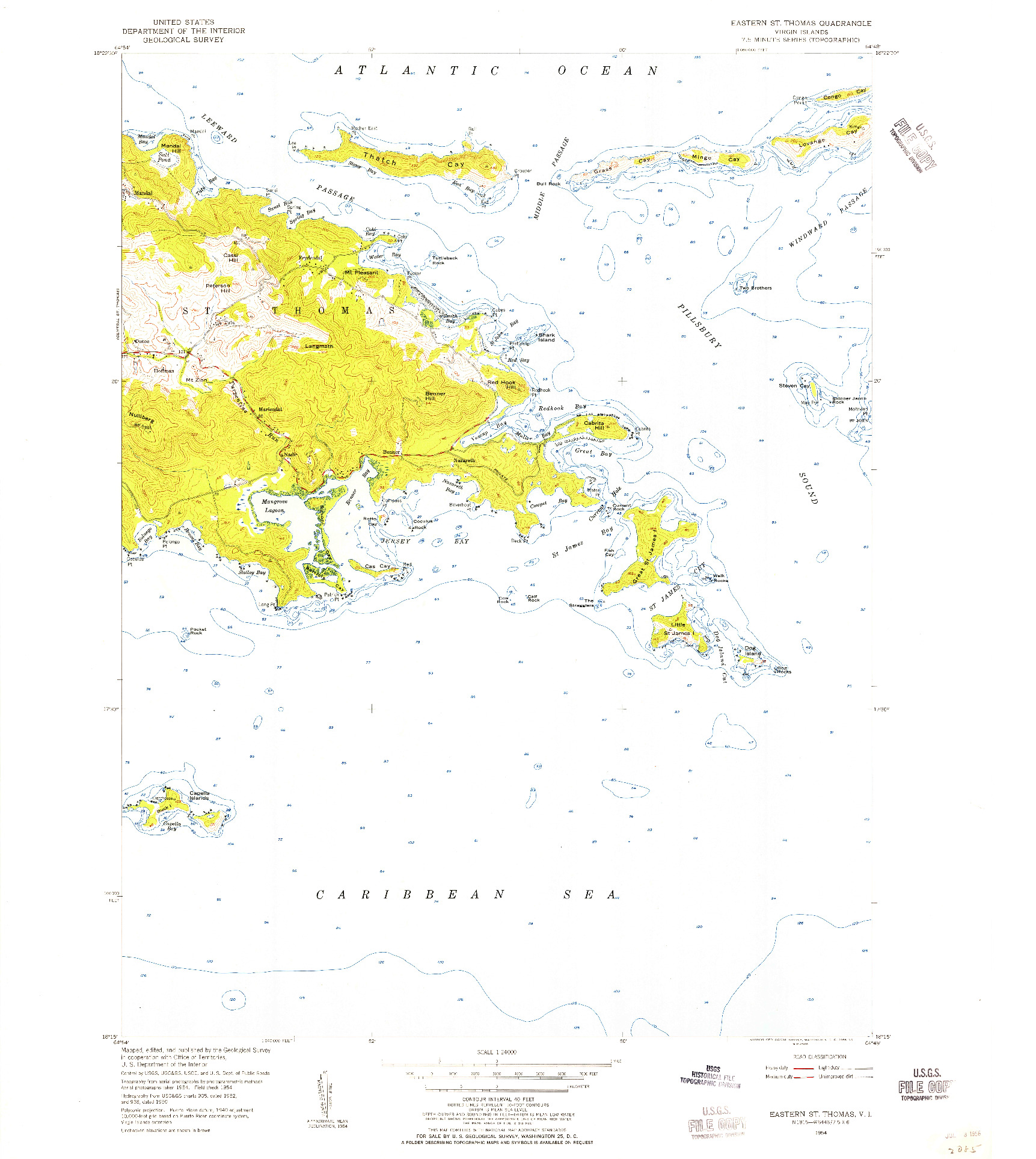 USGS 1:24000-SCALE QUADRANGLE FOR EASTERN ST. THOMAS, VI 1954