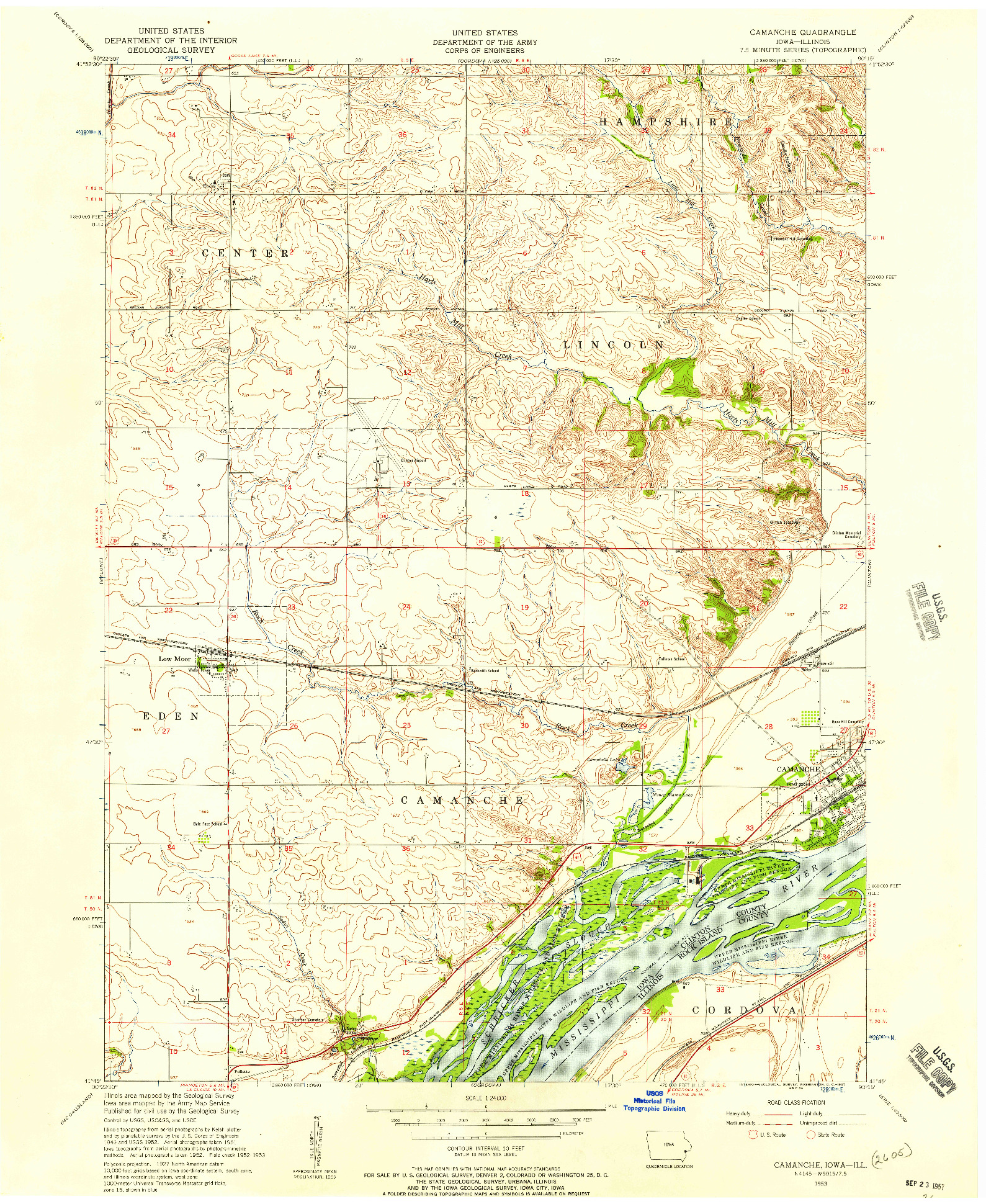 USGS 1:24000-SCALE QUADRANGLE FOR CAMANCHE, IA 1953