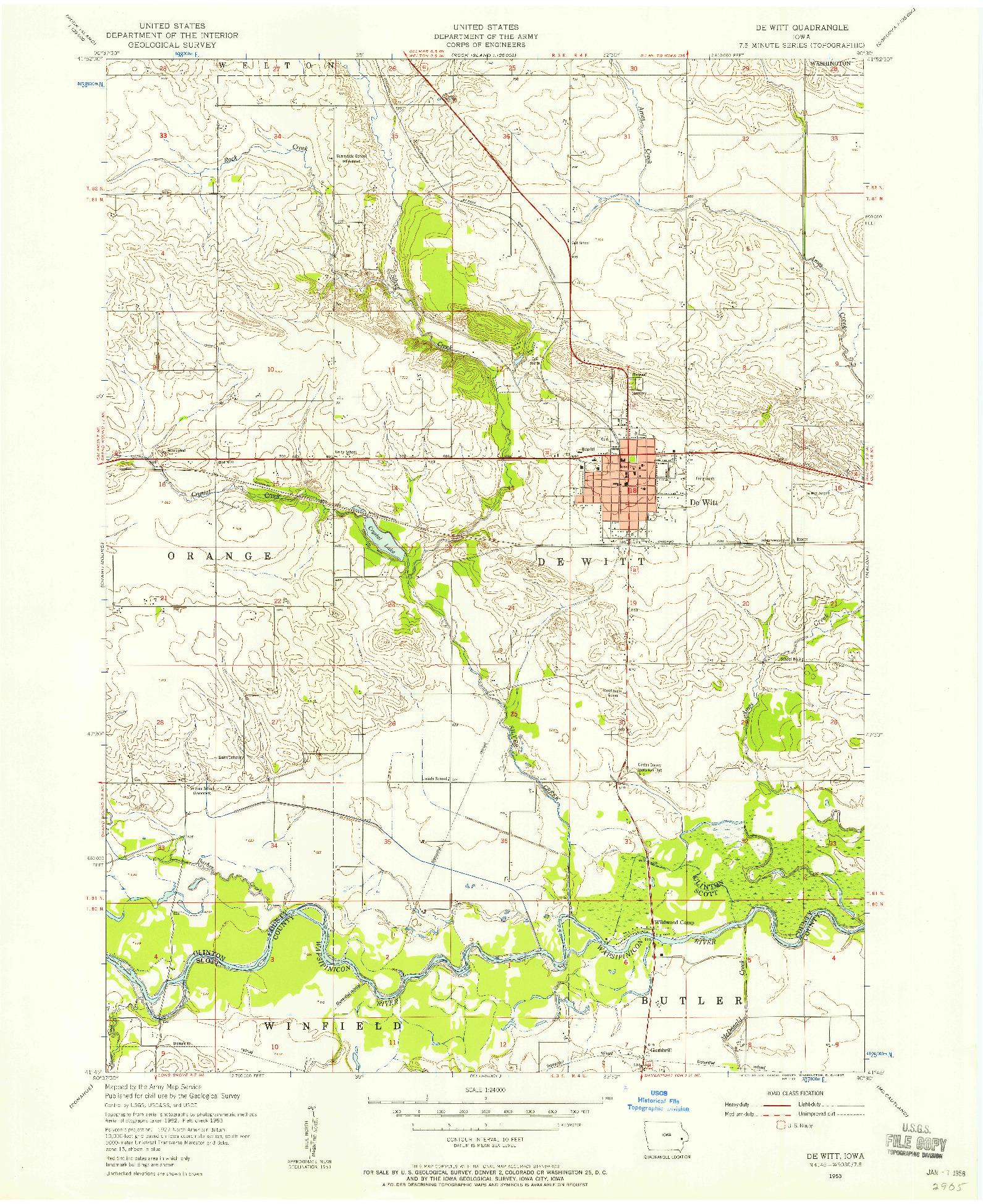 USGS 1:24000-SCALE QUADRANGLE FOR DE WITT, IA 1953