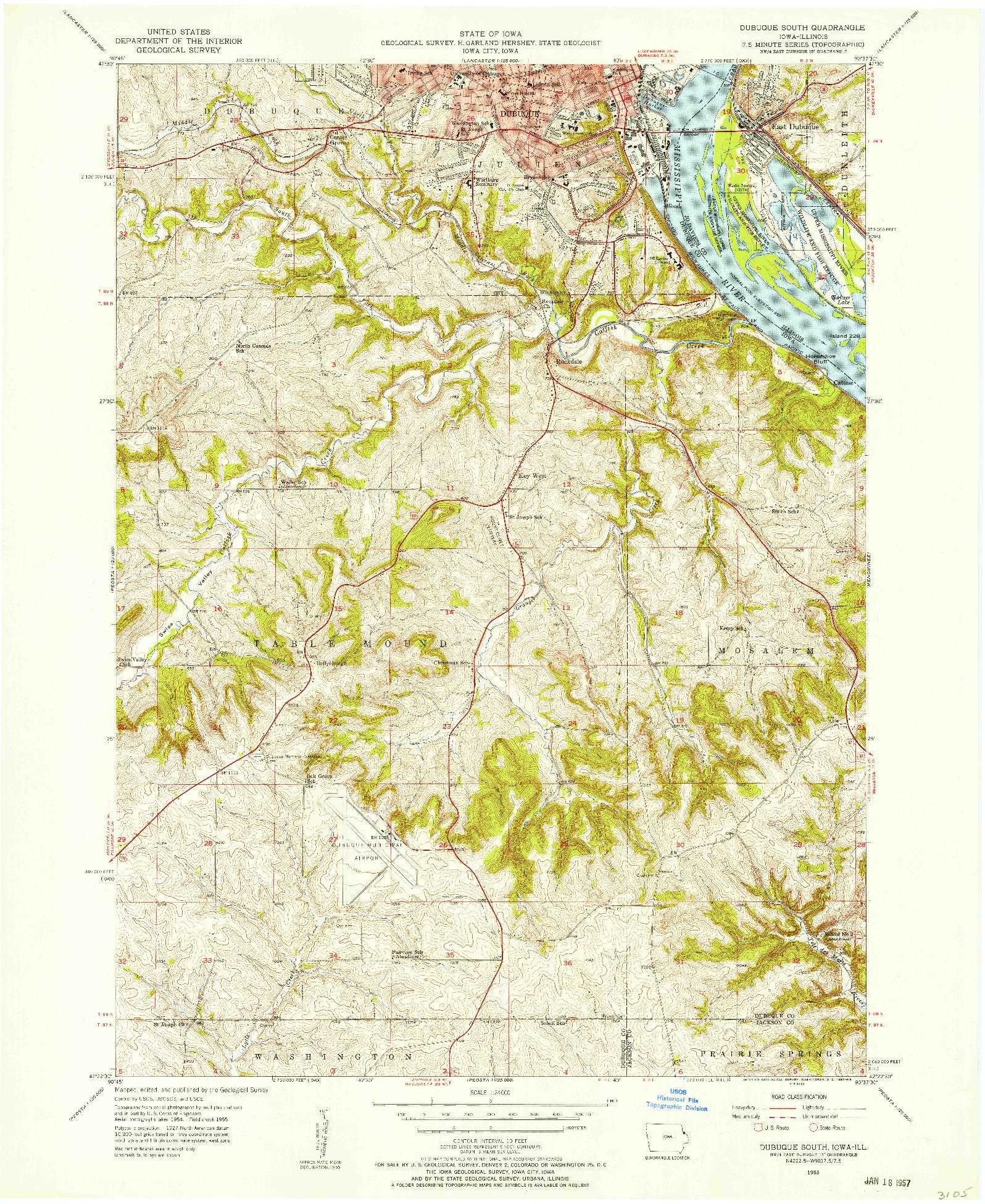 USGS 1:24000-SCALE QUADRANGLE FOR DUBUQUE SOUTH, IA 1955