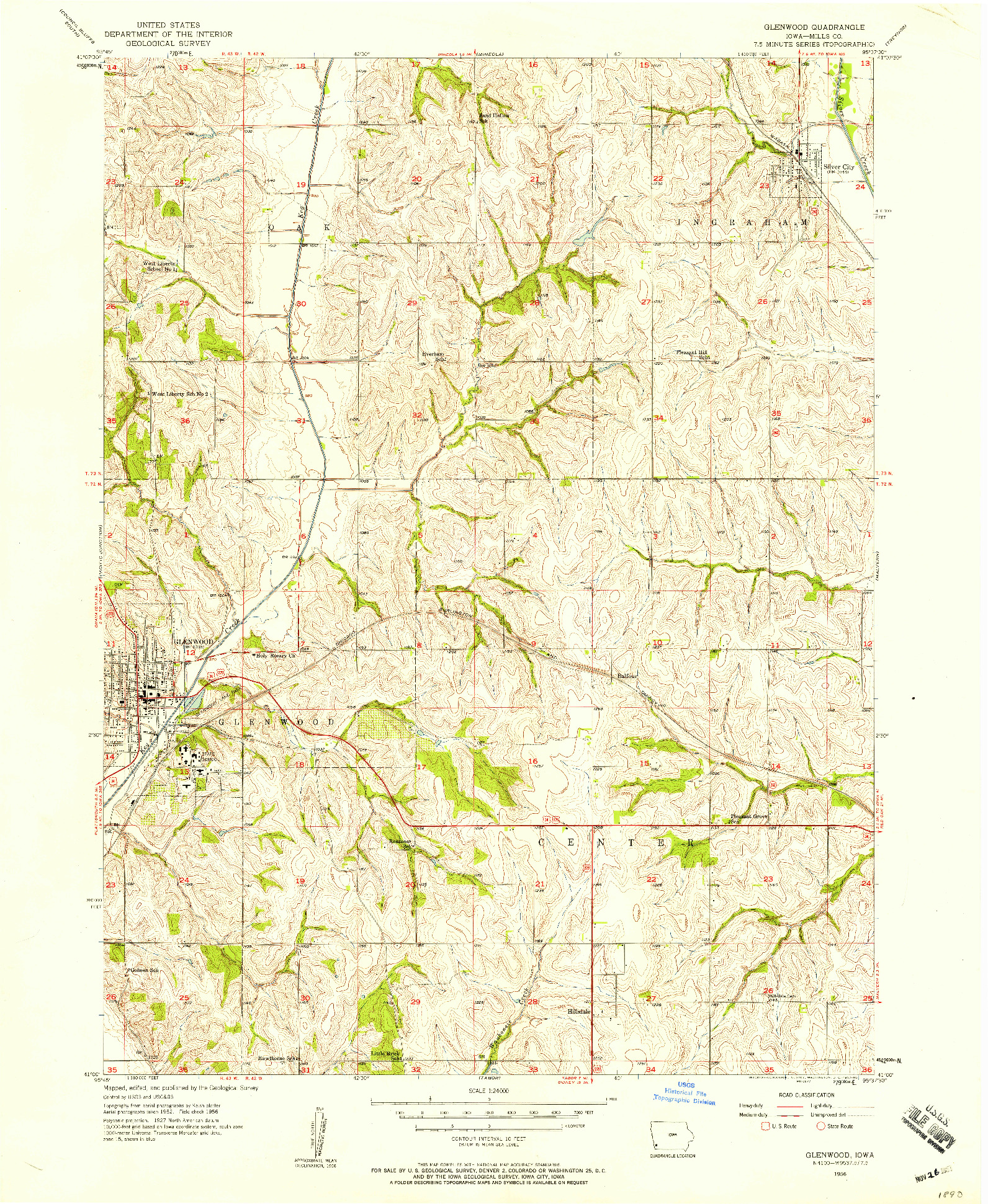 USGS 1:24000-SCALE QUADRANGLE FOR GLENWOOD, IA 1956