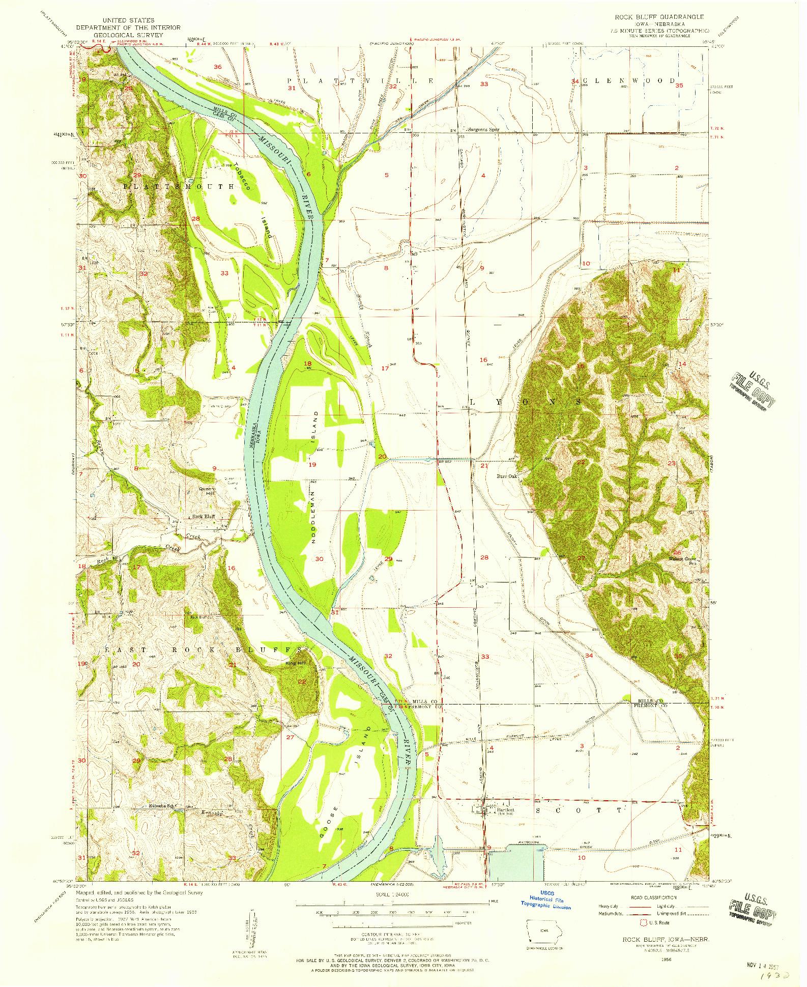 USGS 1:24000-SCALE QUADRANGLE FOR ROCK BLUFF, IA 1956