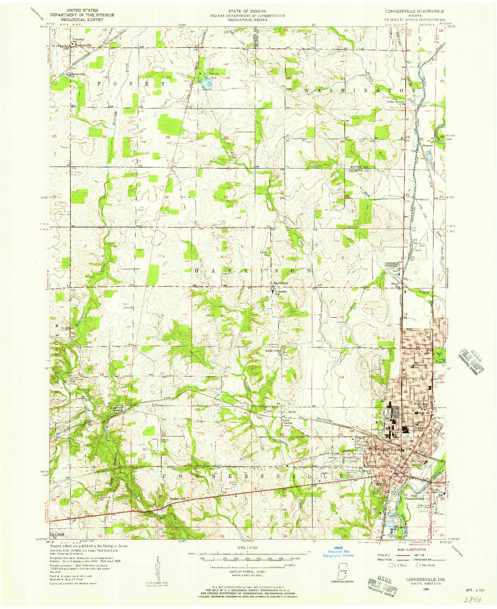 USGS 1:24000-SCALE QUADRANGLE FOR CONNERSVILLE, IN 1956