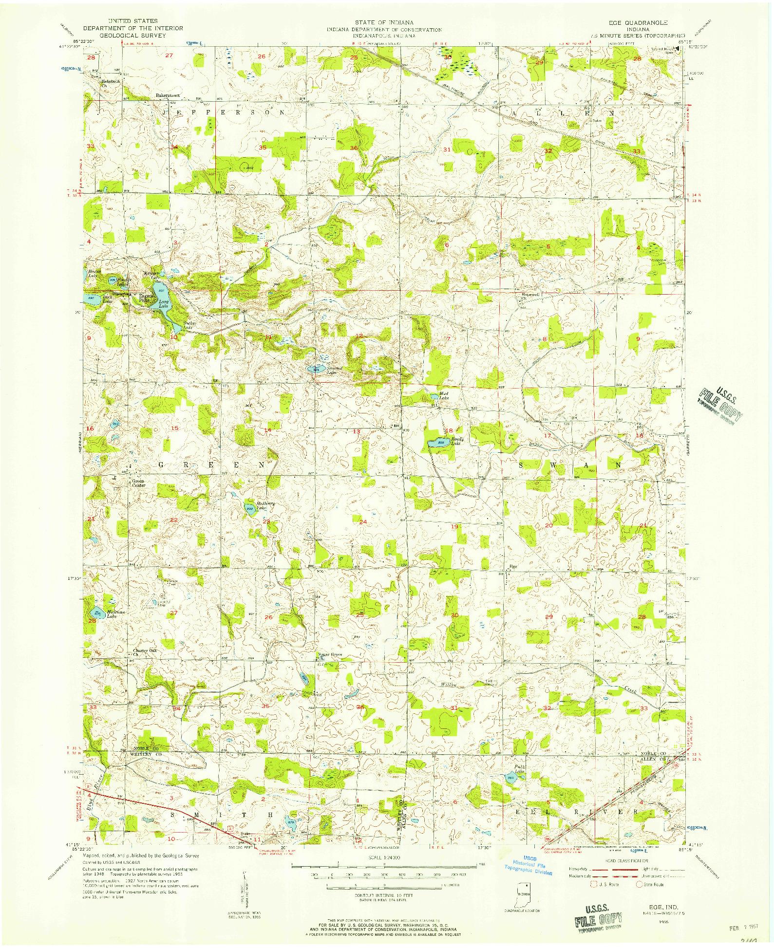 USGS 1:24000-SCALE QUADRANGLE FOR EGE, IN 1955