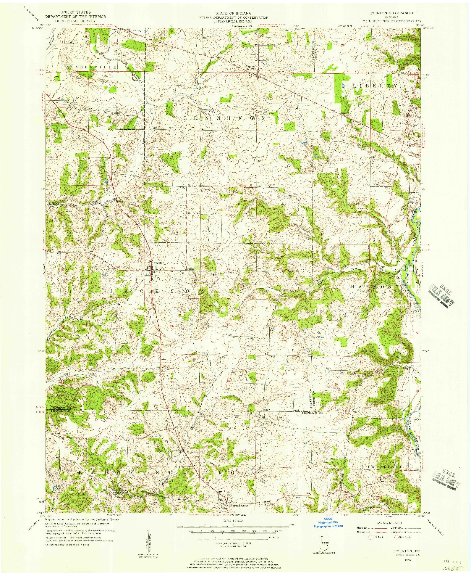 USGS 1:24000-SCALE QUADRANGLE FOR EVERTON, IN 1956