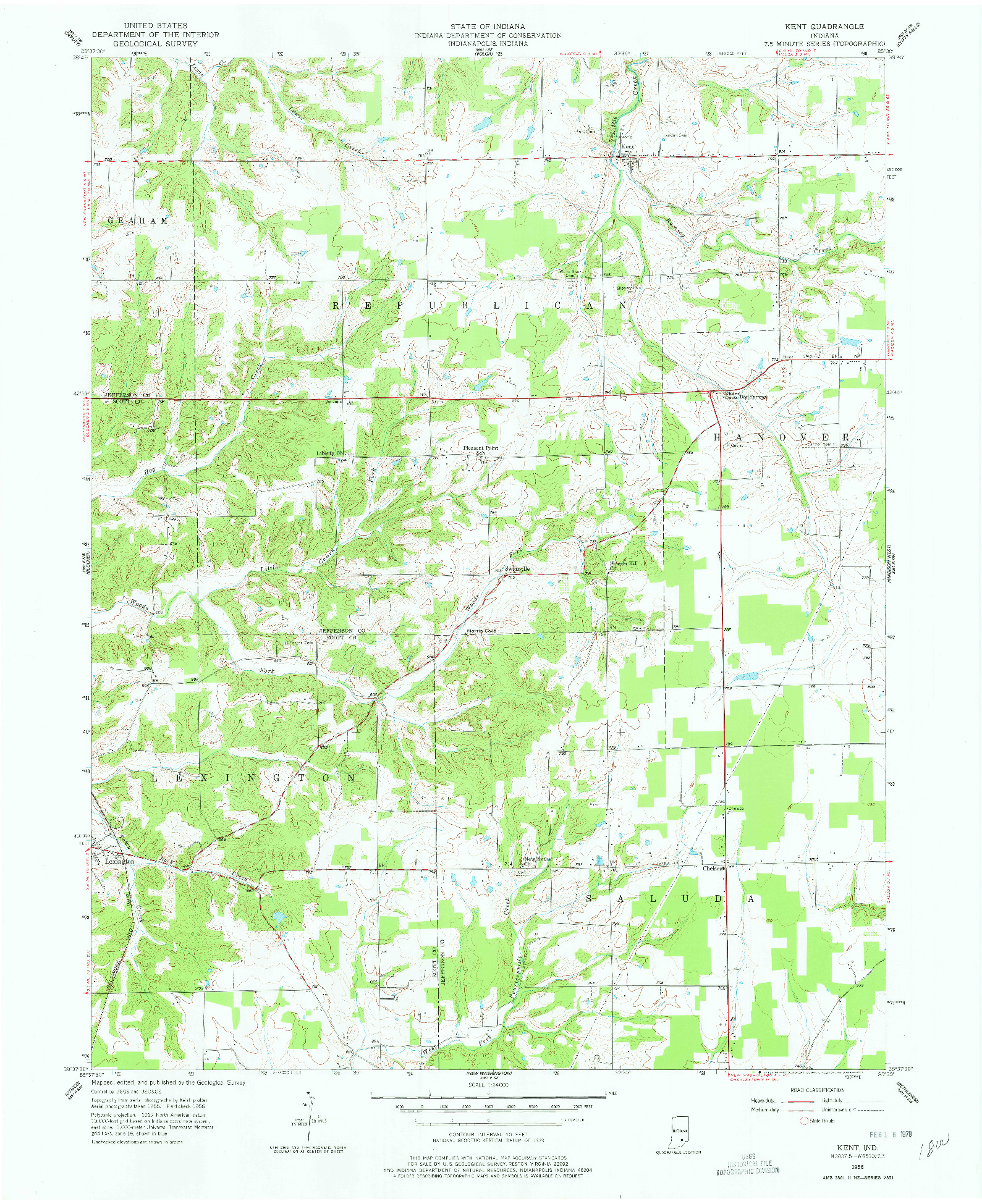 USGS 1:24000-SCALE QUADRANGLE FOR KENT, IN 1956