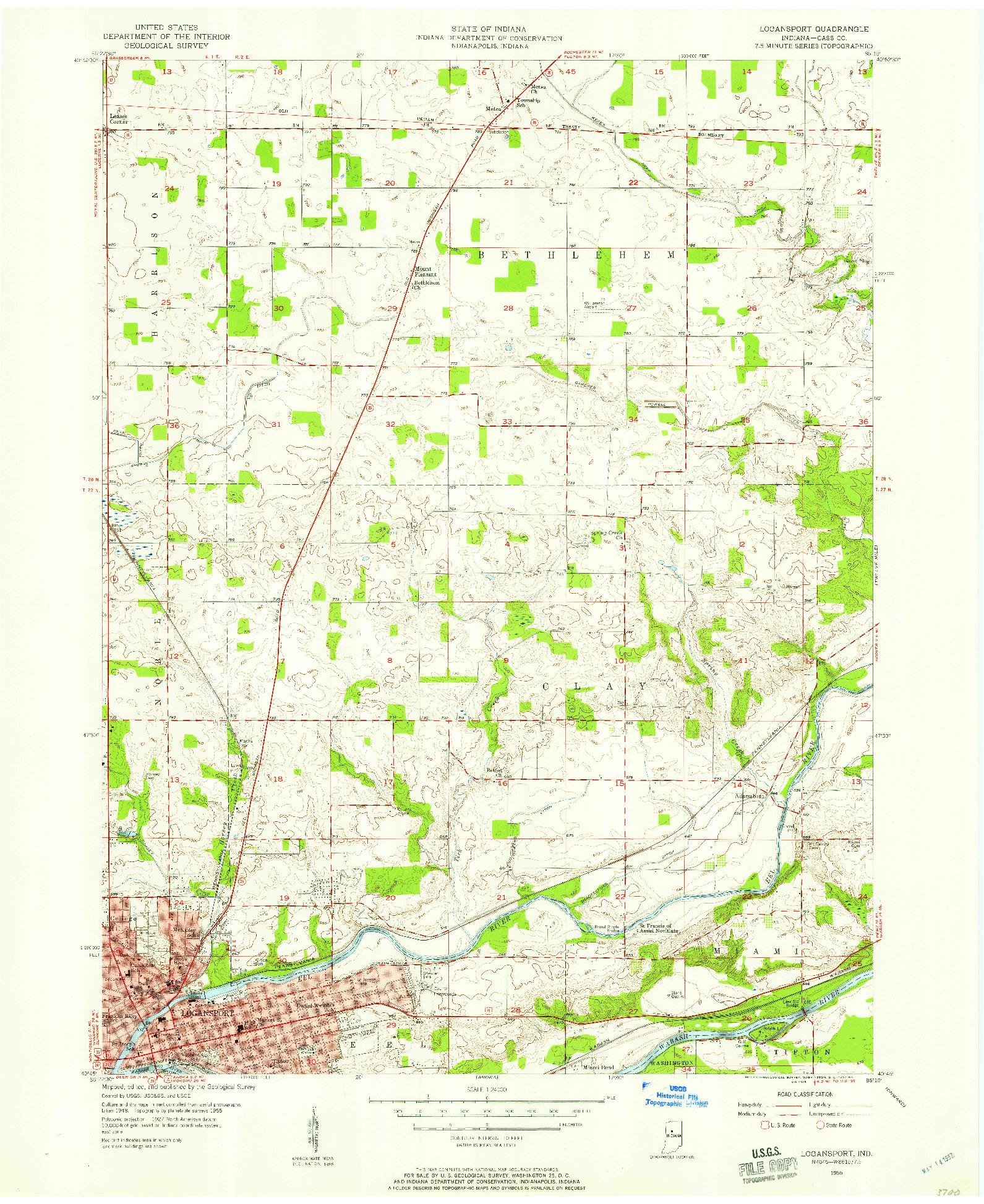 USGS 1:24000-SCALE QUADRANGLE FOR LOGANSPORT, IN 1955