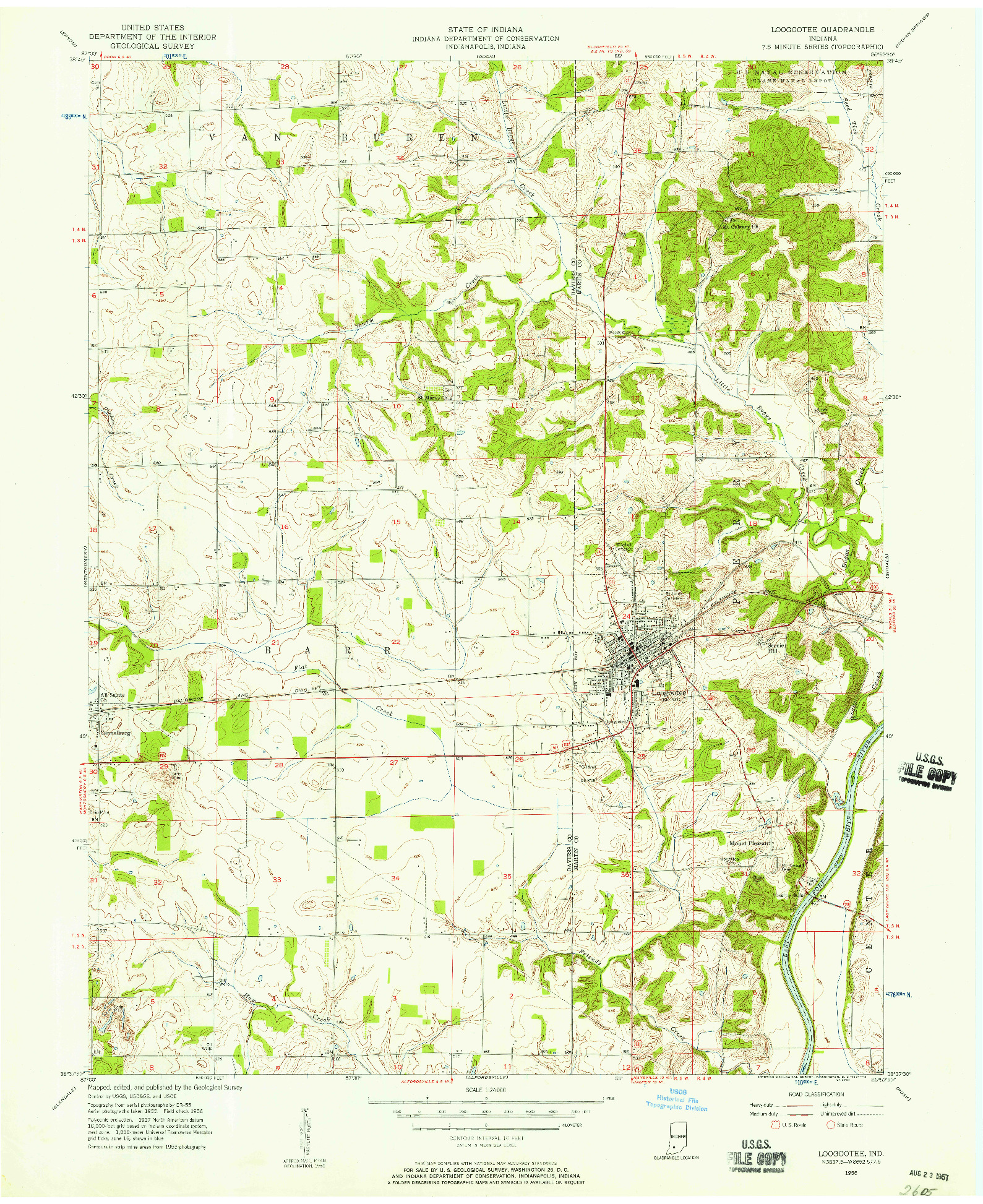 USGS 1:24000-SCALE QUADRANGLE FOR LOOGOOTEE, IN 1956