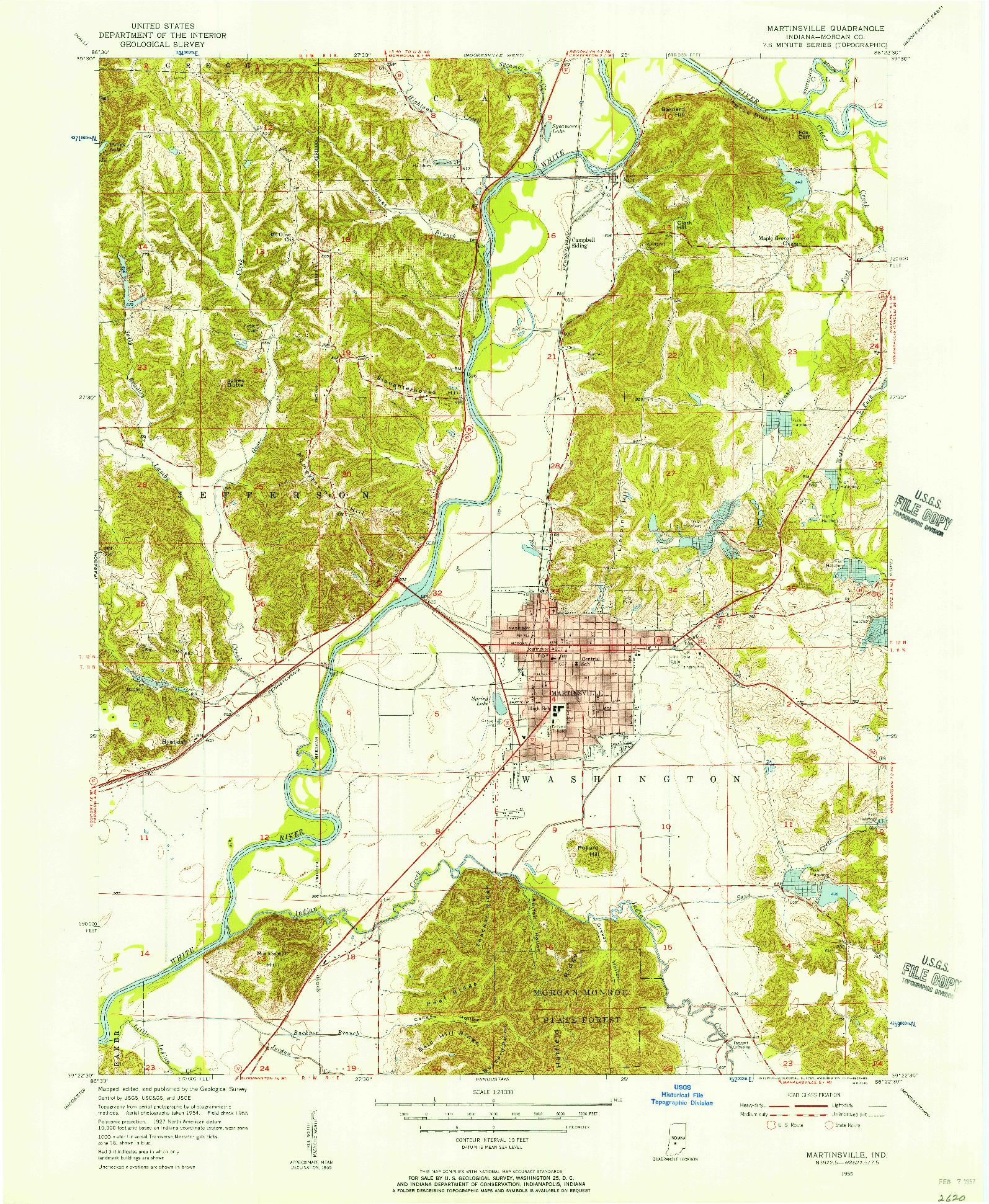 USGS 1:24000-SCALE QUADRANGLE FOR MARTINSVILLE, IN 1955