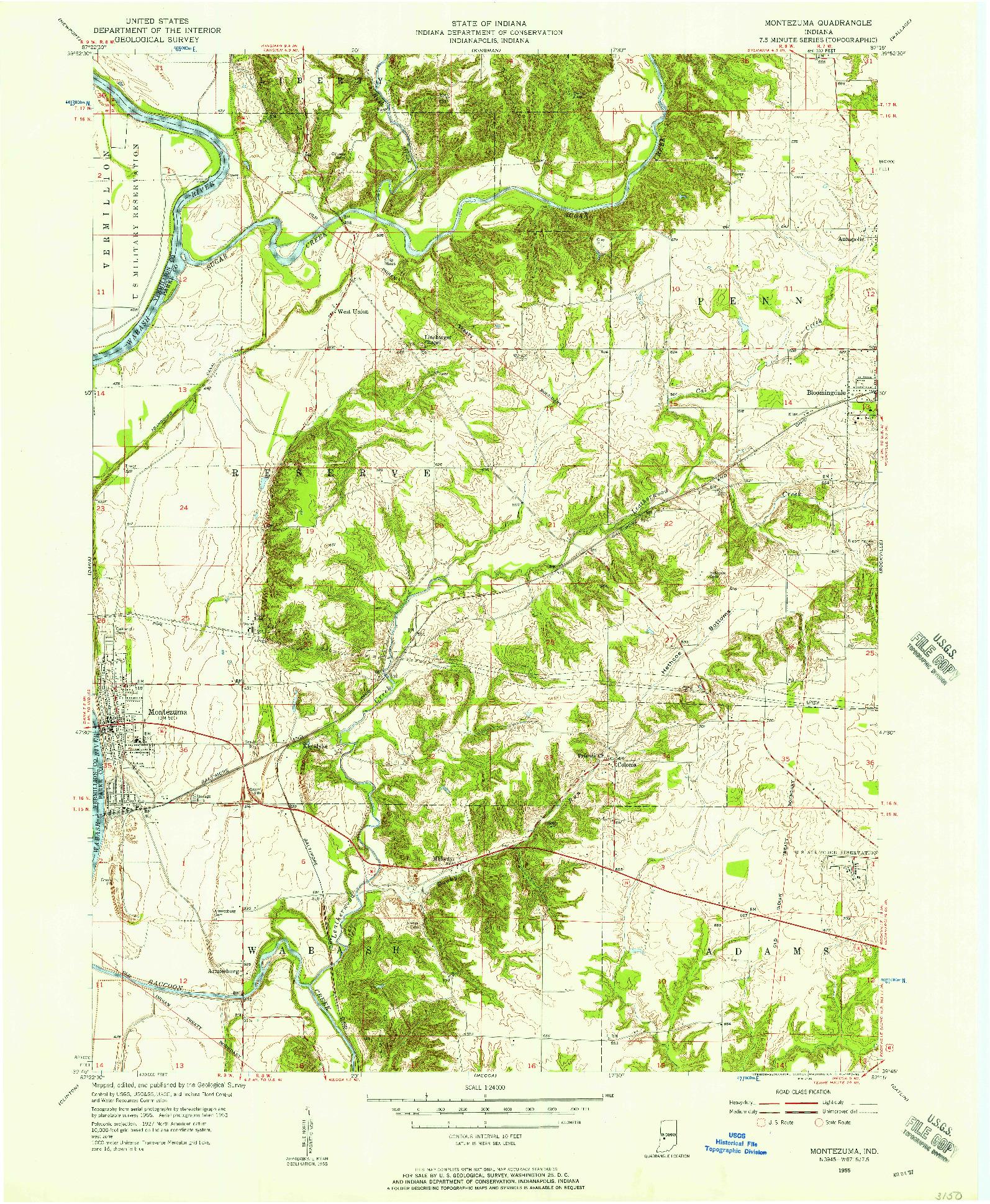 USGS 1:24000-SCALE QUADRANGLE FOR MONTEZUMA, IN 1955