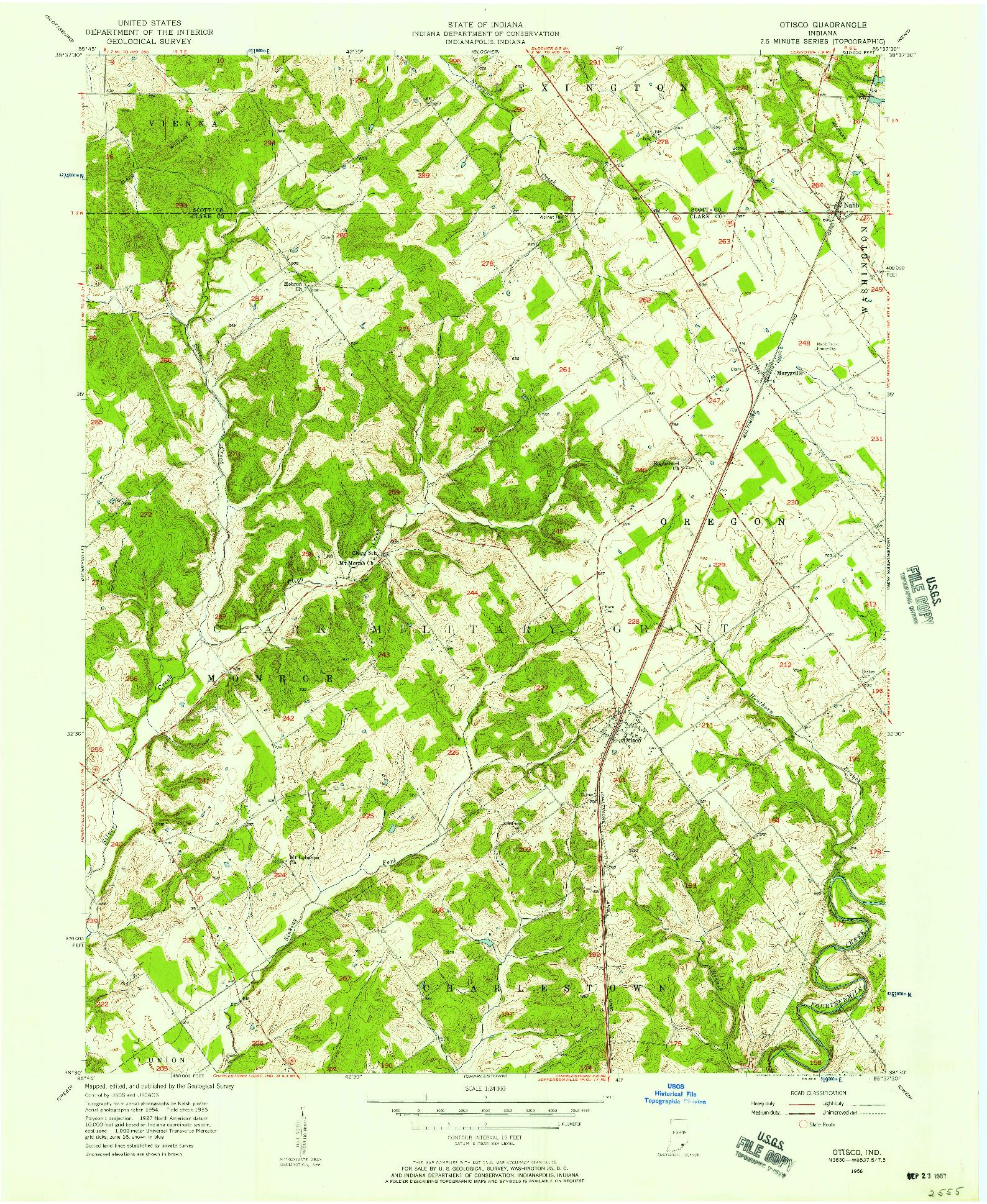 USGS 1:24000-SCALE QUADRANGLE FOR OTISCO, IN 1956