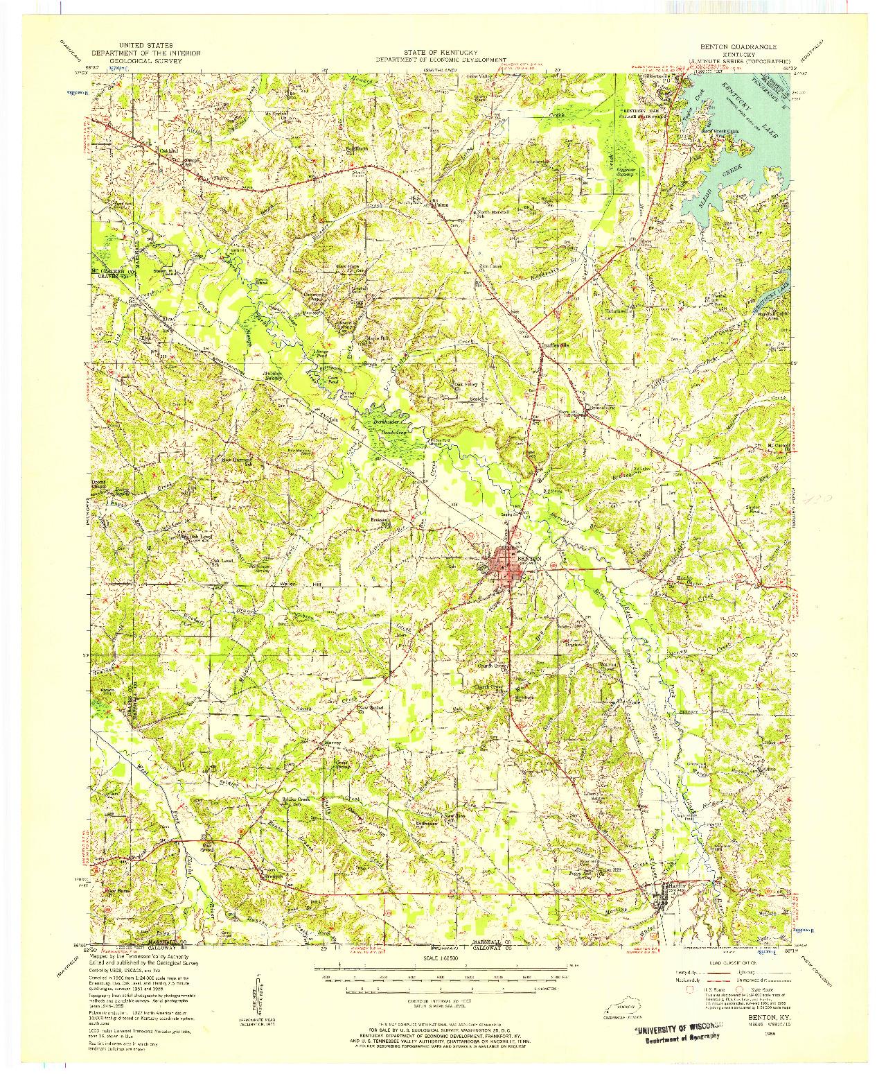 USGS 1:62500-SCALE QUADRANGLE FOR BENTON, KY 1955