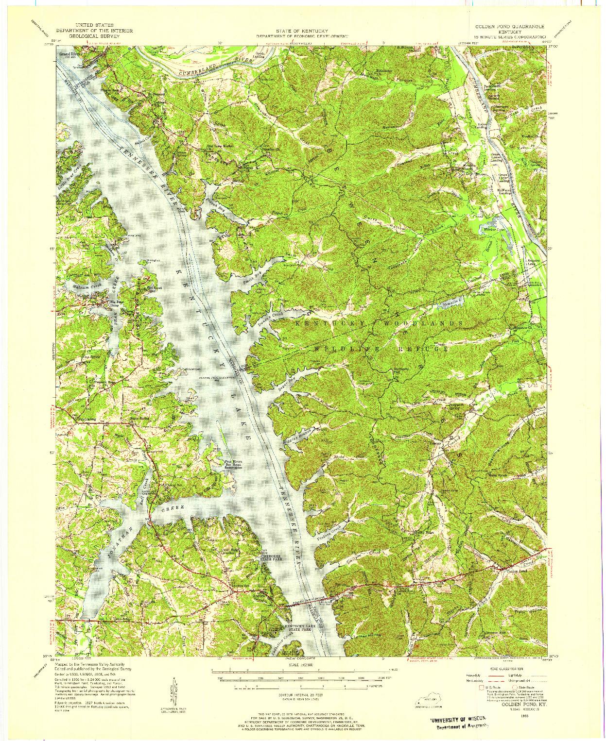 USGS 1:62500-SCALE QUADRANGLE FOR GOLDEN POND, KY 1955