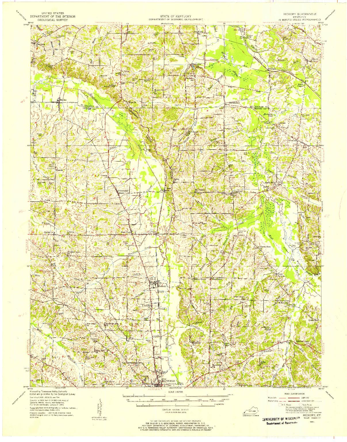 USGS 1:62500-SCALE QUADRANGLE FOR HICKORY, KY 1951