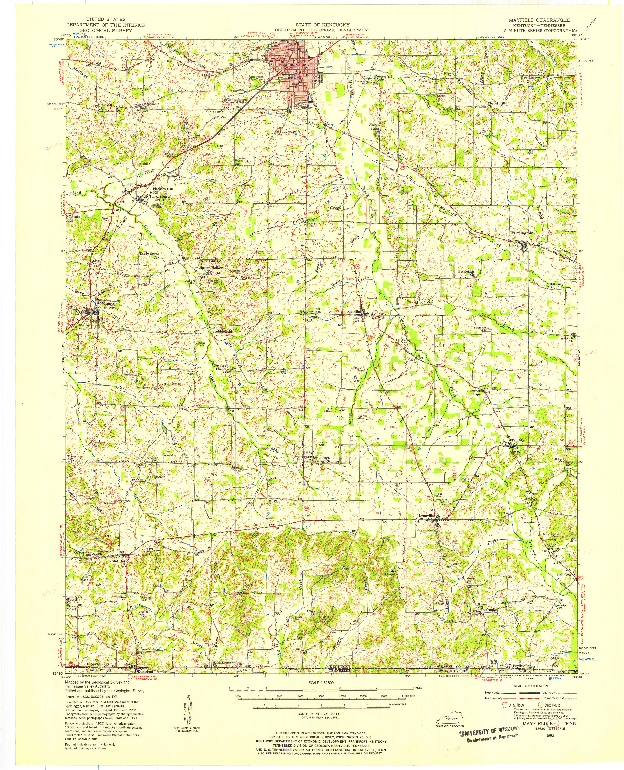 USGS 1:62500-SCALE QUADRANGLE FOR MAYFIELD, KY 1952