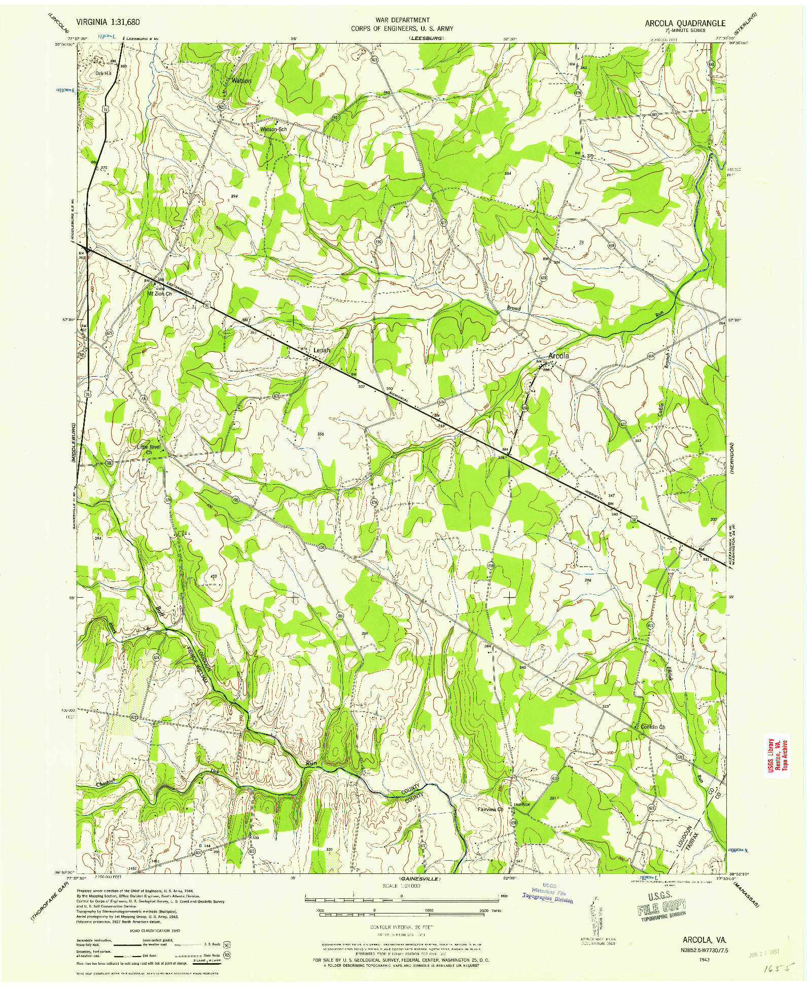 USGS 1:24000-SCALE QUADRANGLE FOR ARCOLA, VA 1943