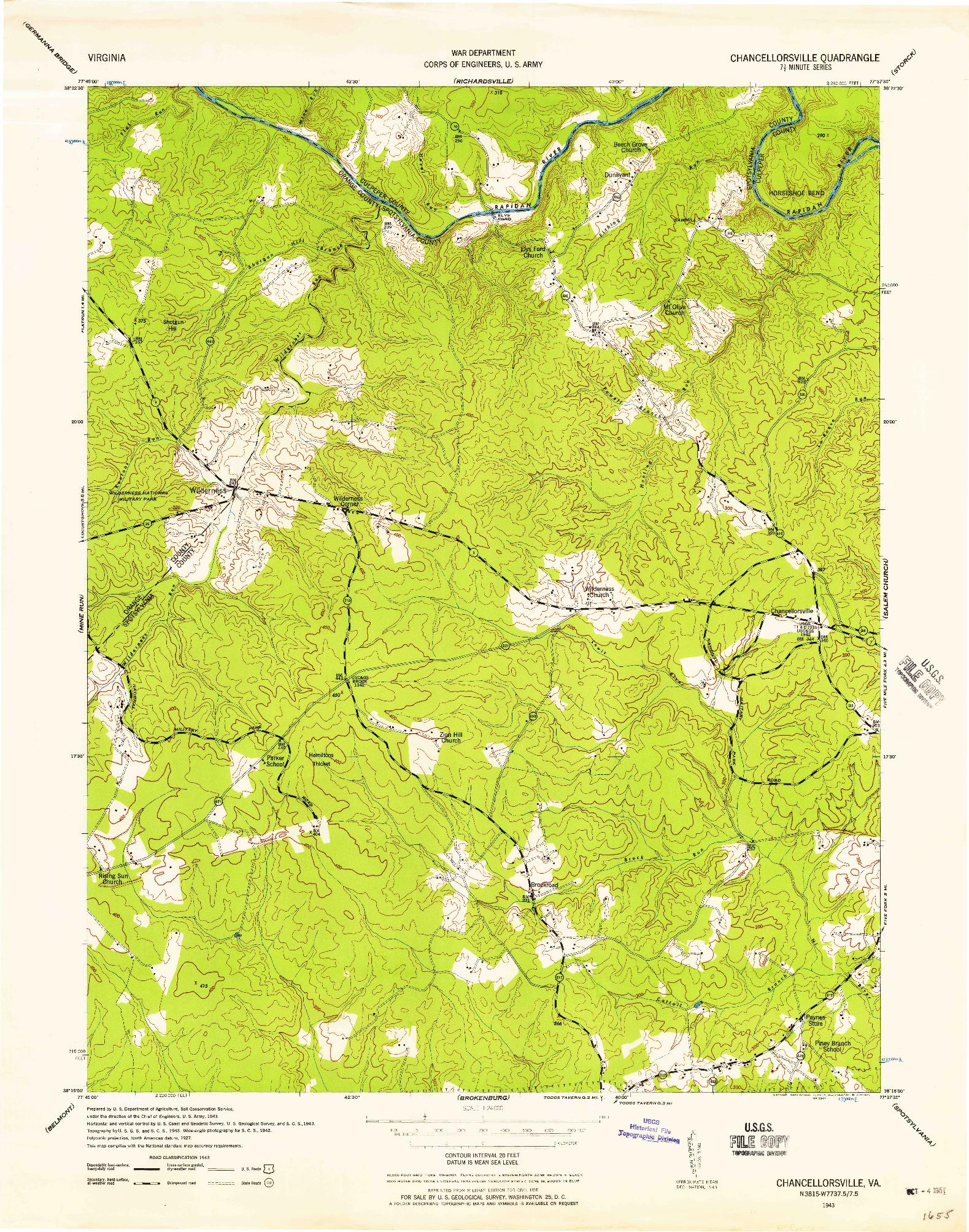 USGS 1:24000-SCALE QUADRANGLE FOR CHANCELLORSVILLE, VA 1943